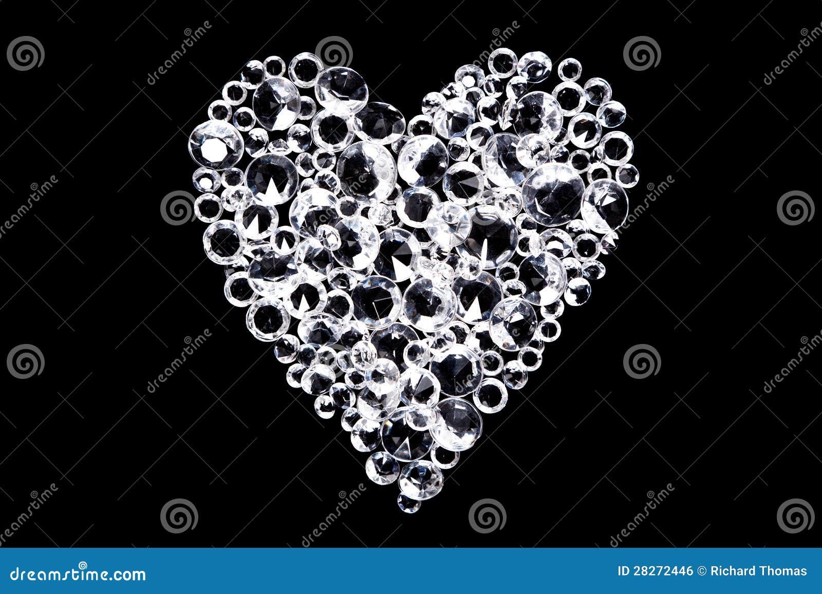 Het hart van de diamant op zwarte achtergrond