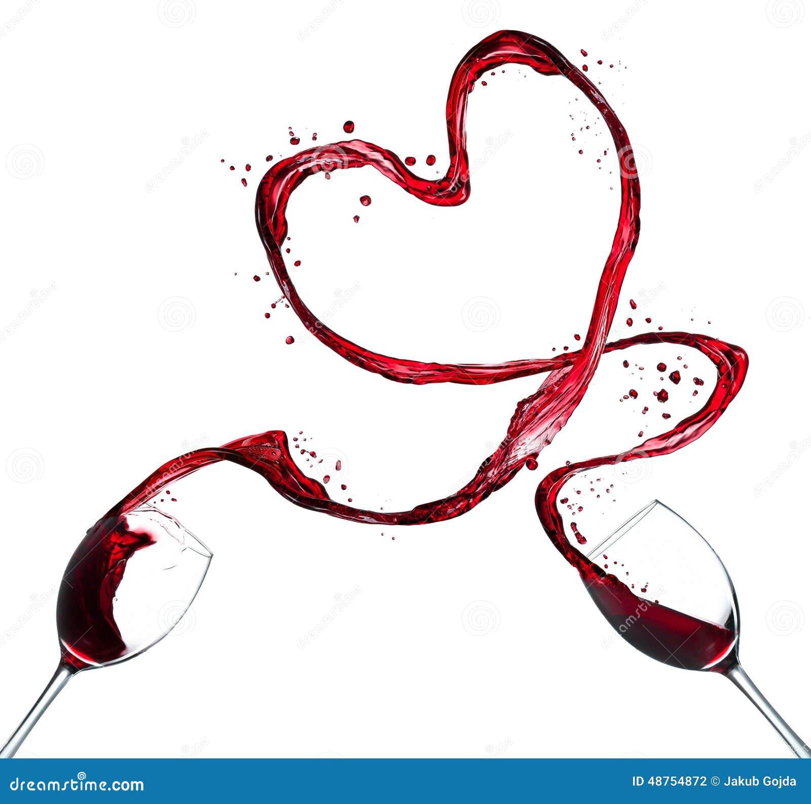 Het hart van de rode wijnplons op witte achtergrond