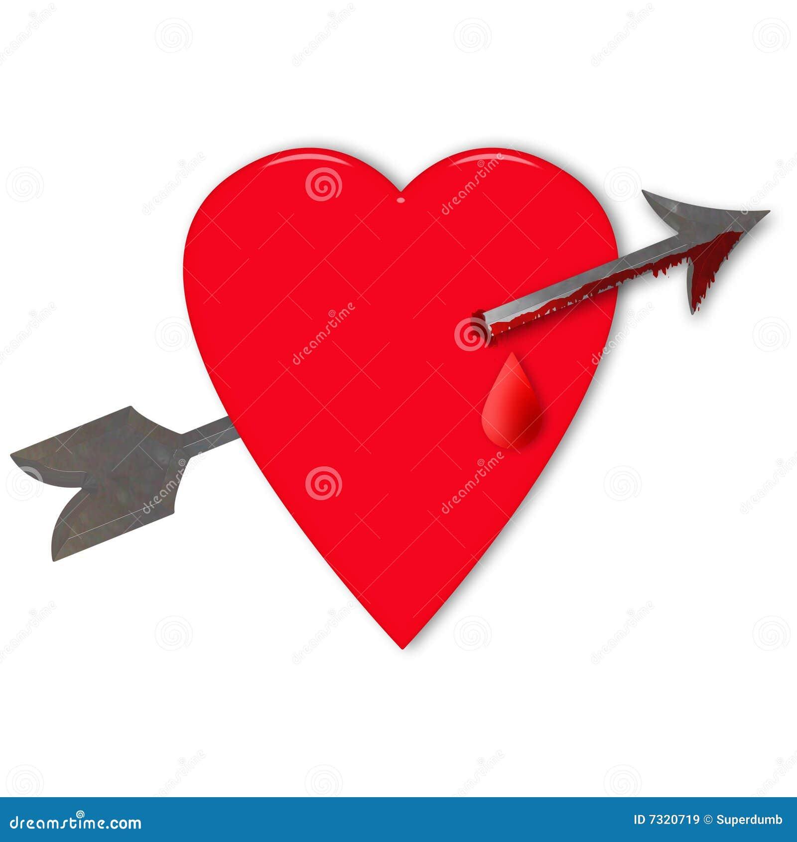 het hart de valentijnskaart met pijl stock illustratie