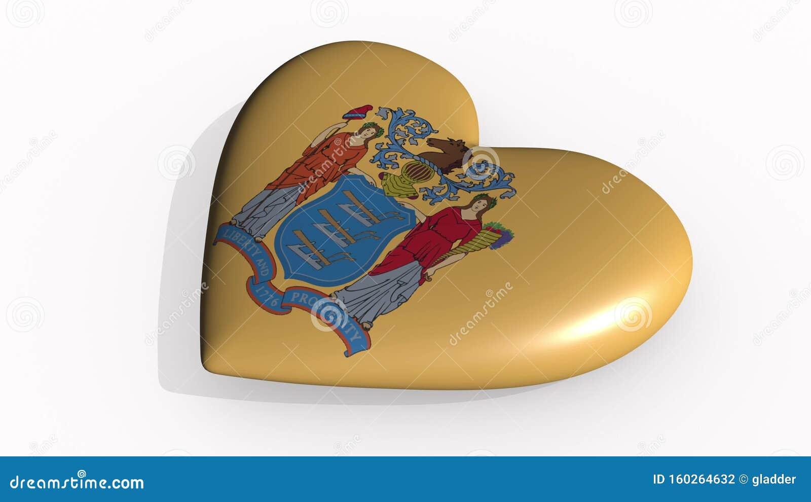 Het hart van New Jersey slaat en giet schaduw, 3d rendering