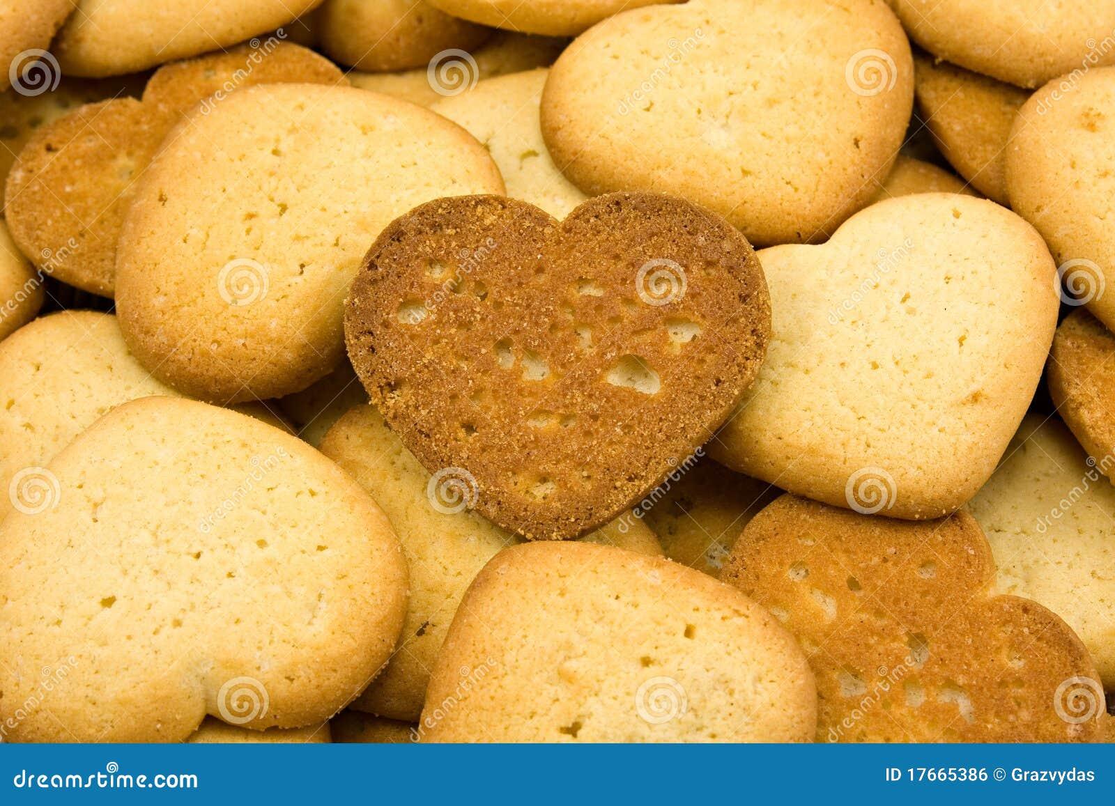 Het hart vormde bruine koekjes