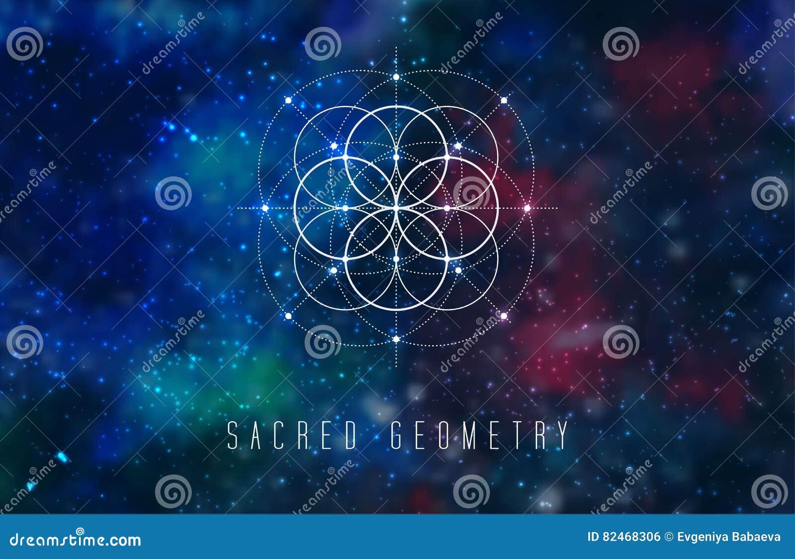 Het heilige element van het meetkunde vectorontwerp op een abstracte kosmische achtergrond