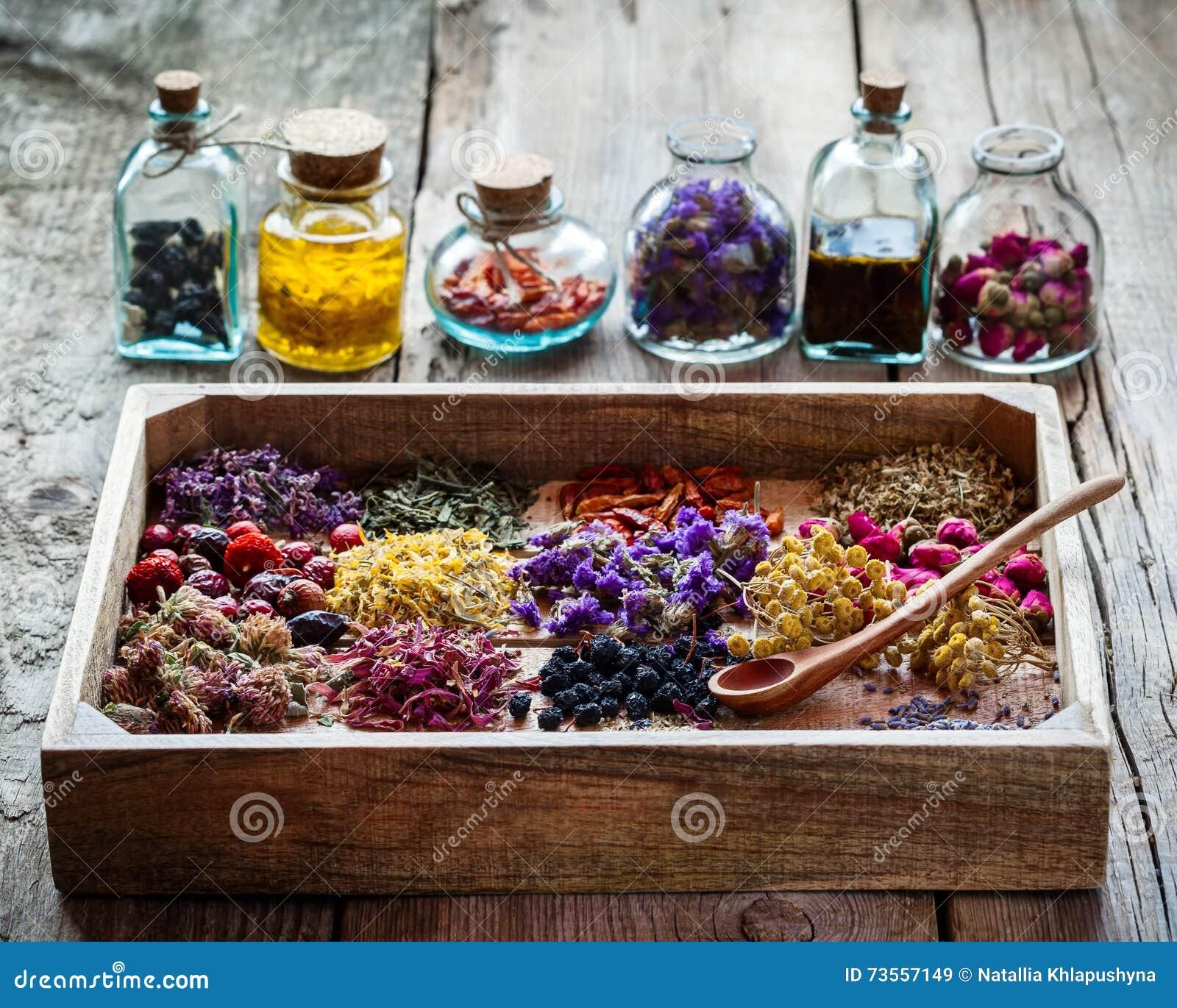 Het helen van kruiden in houten doos en flessen tint