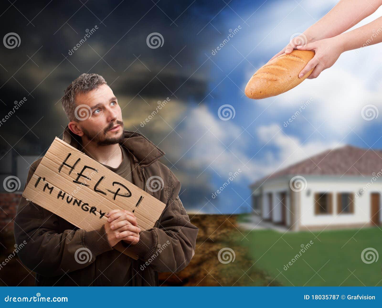 Het helpen van de hongerige bedelaar