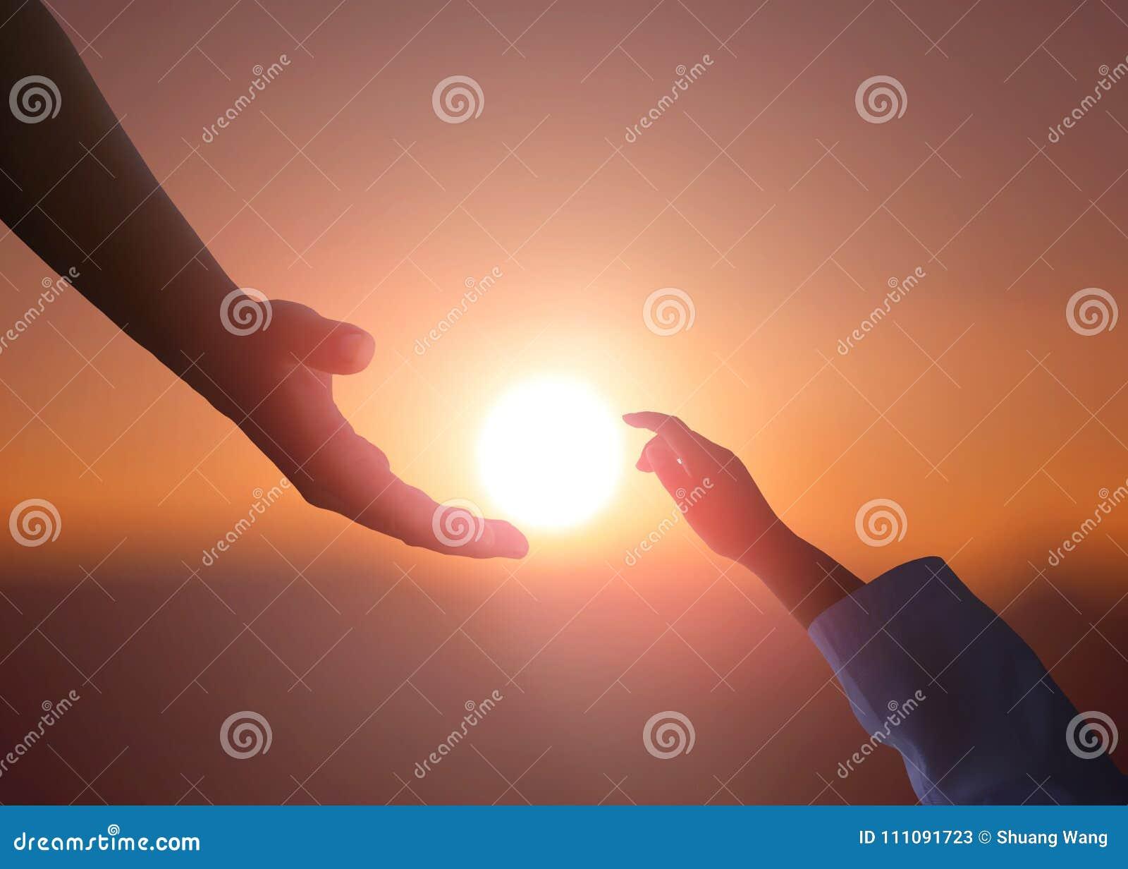 Het helpen van handconcept en internationale dag van vrede