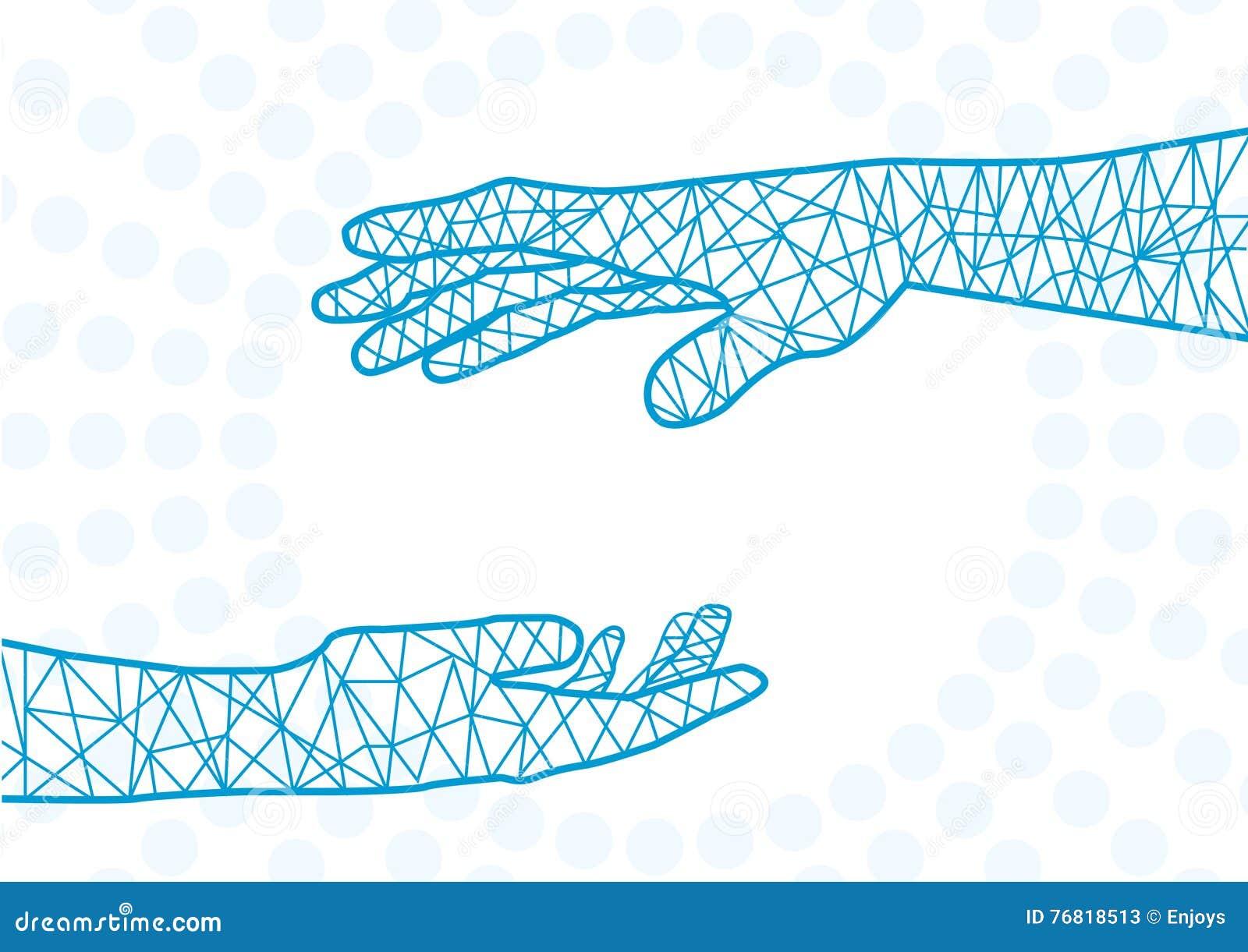 Het helpen van Handen Abstracte illustratie voor ontwerp