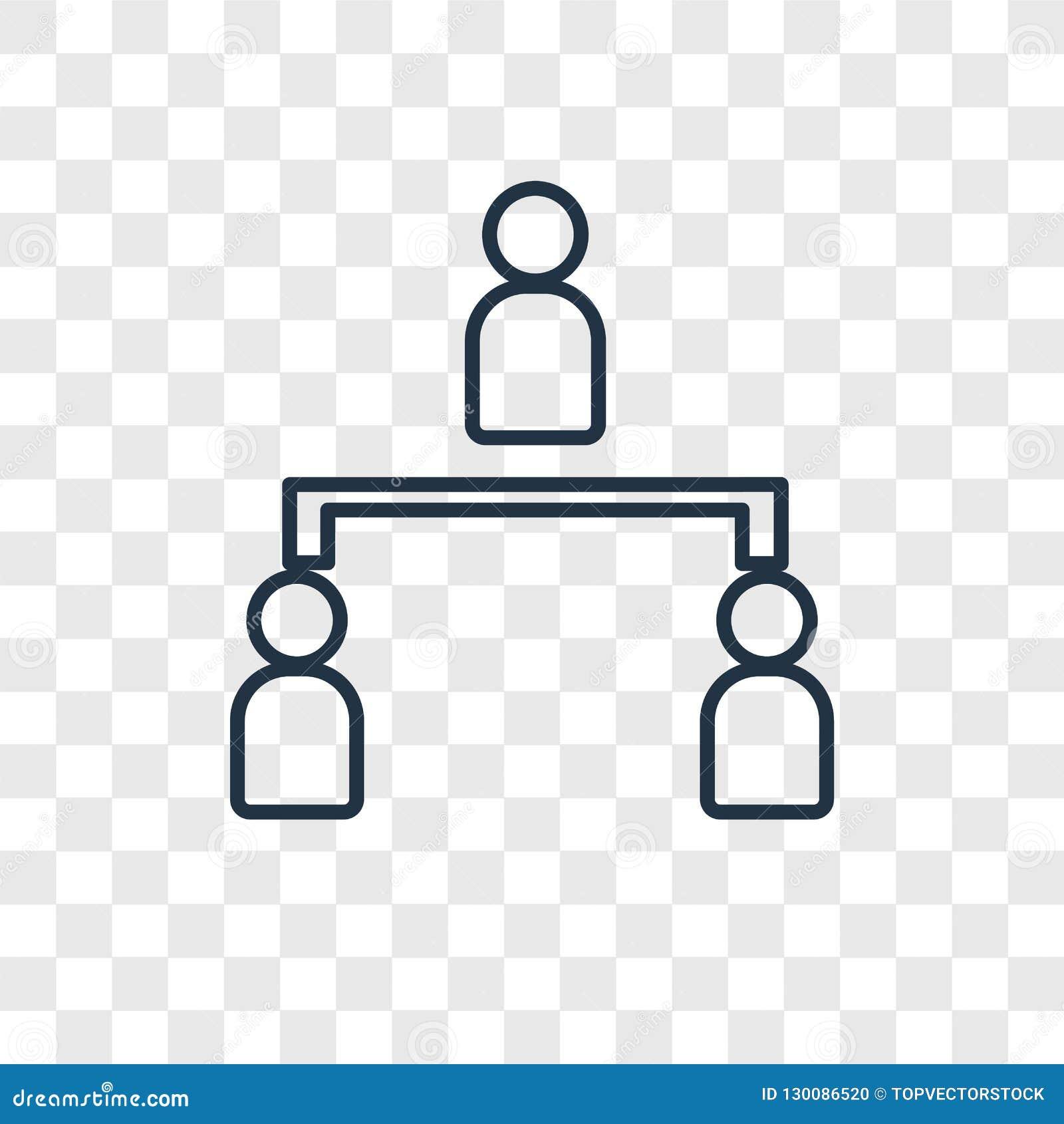 Het hiërarchische vector lineaire die pictogram van het structuurconcept op RT wordt geïsoleerd
