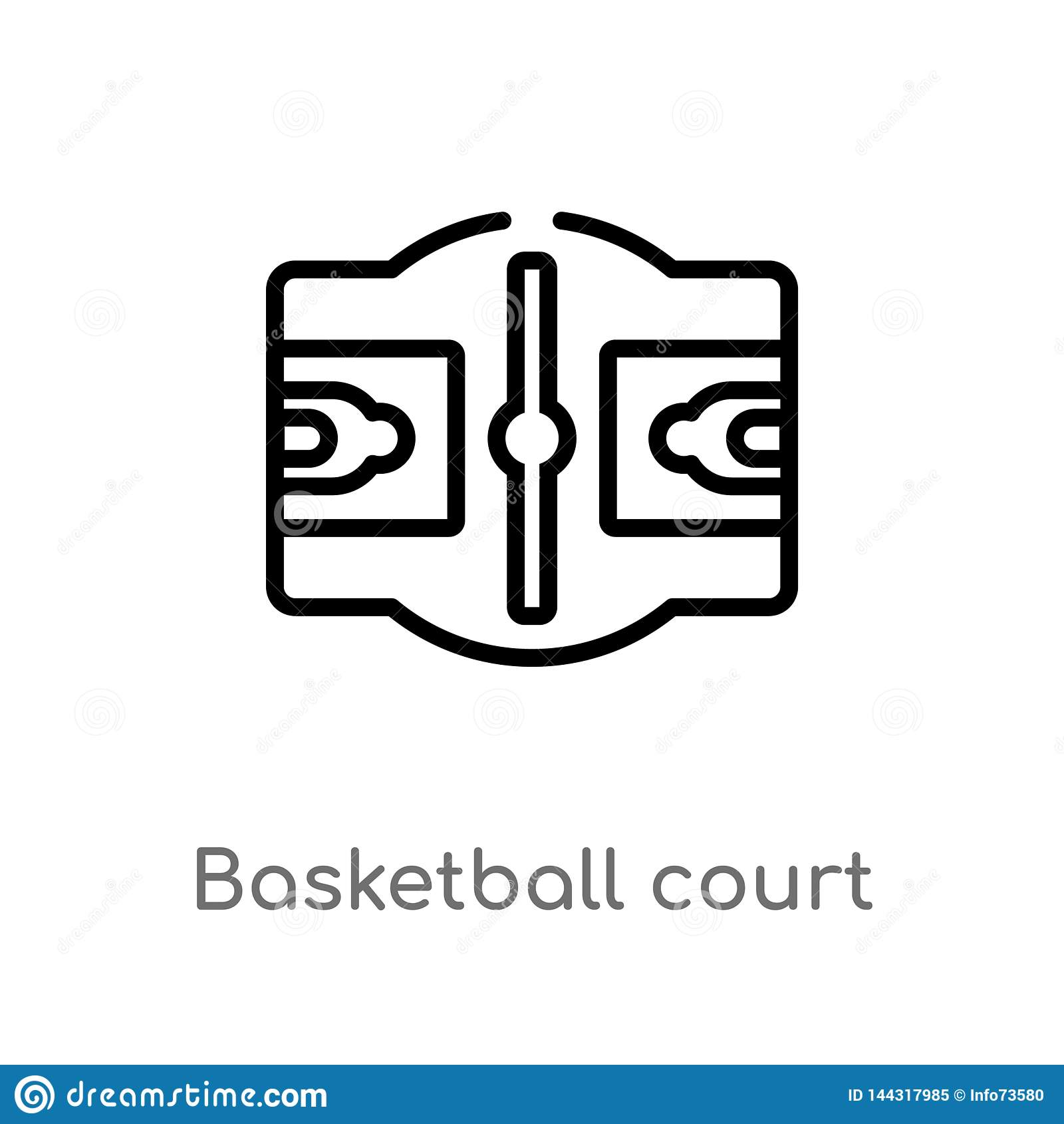 Het hof vectorpictogram van het overzichtsbasketbal de geïsoleerde zwarte eenvoudige illustratie van het lijnelement van sportenc
