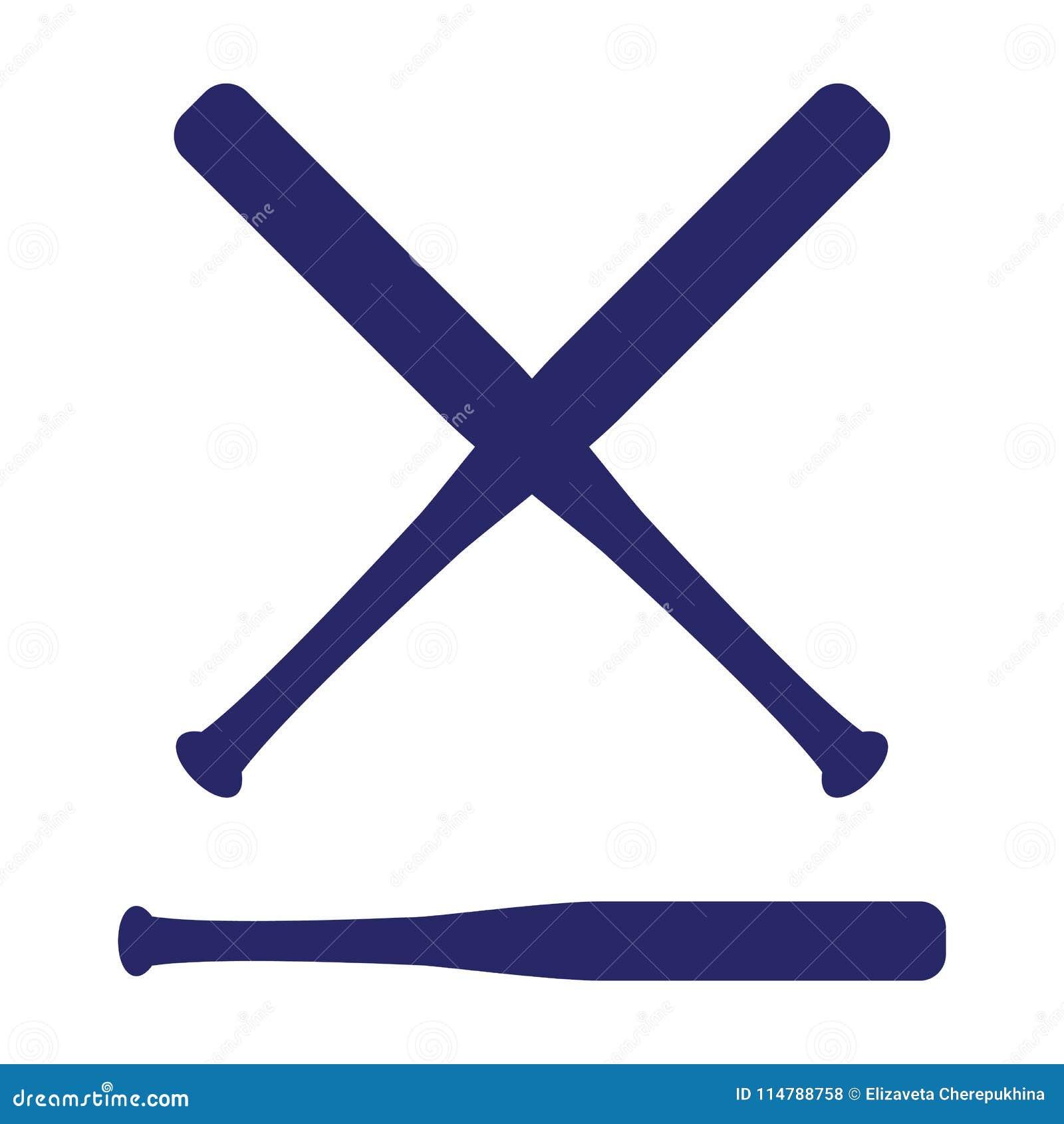 Het honkbal kruiste Knuppels Criss dwarsknuppels Vlakke vectorillustratie