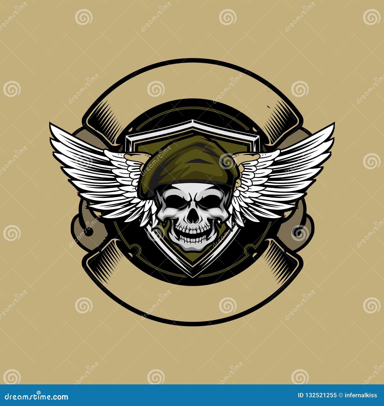 Het hoofd van de militairschedel met baret en vleugel vectorlintembleem om malplaatje