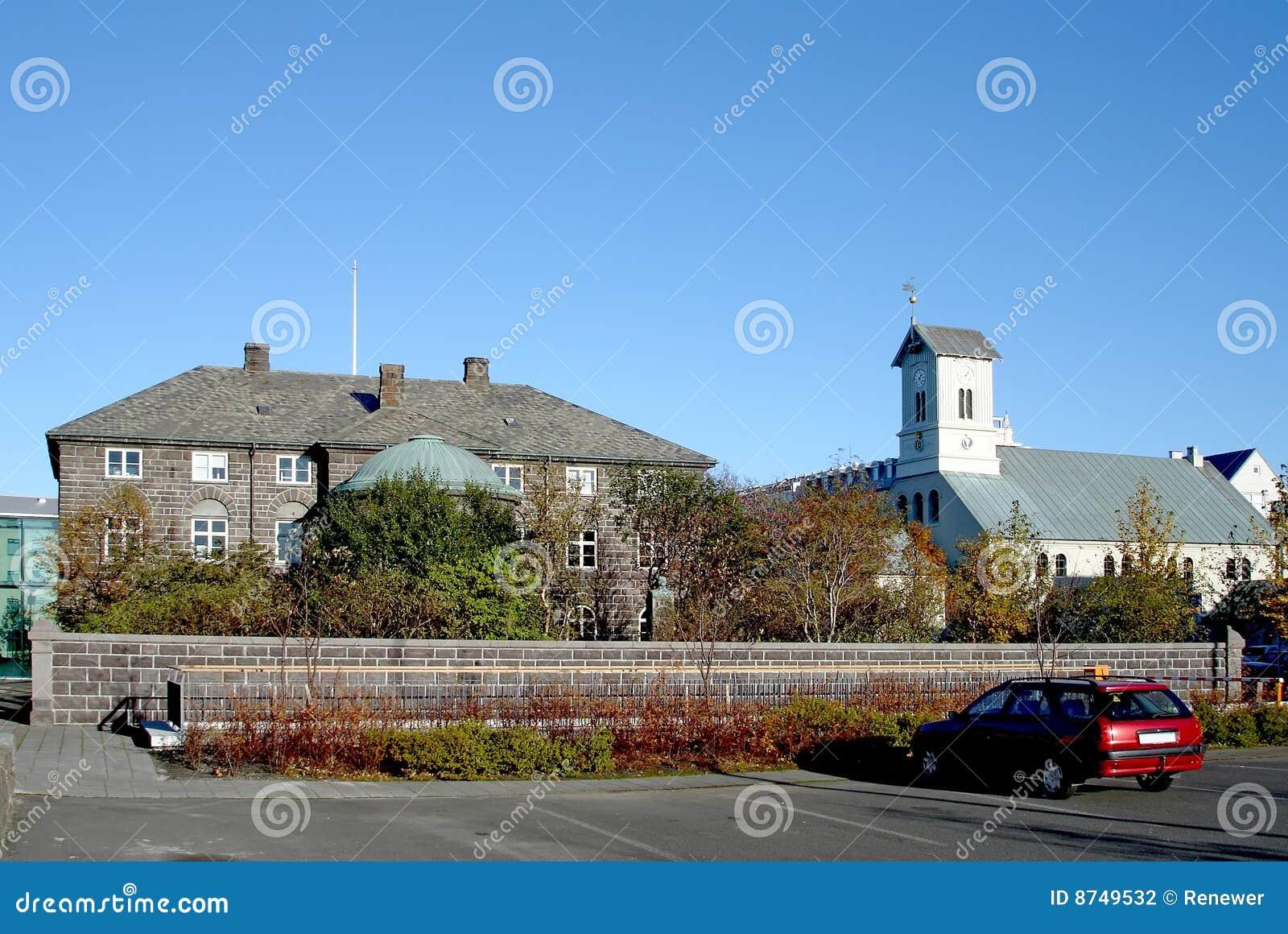 Het hoofdgebouw van althingi van het parlement van ijsland stock foto afbeelding 8749532 - Het upgraden van m ...