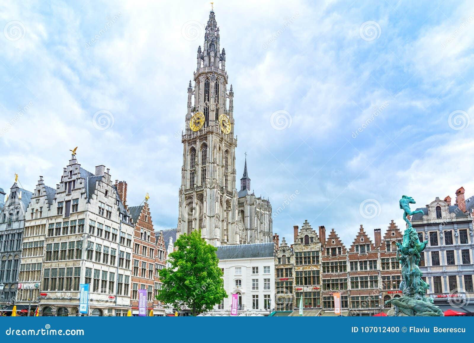Het hoofdvierkant van Antwerpen in Vlaanderen, België