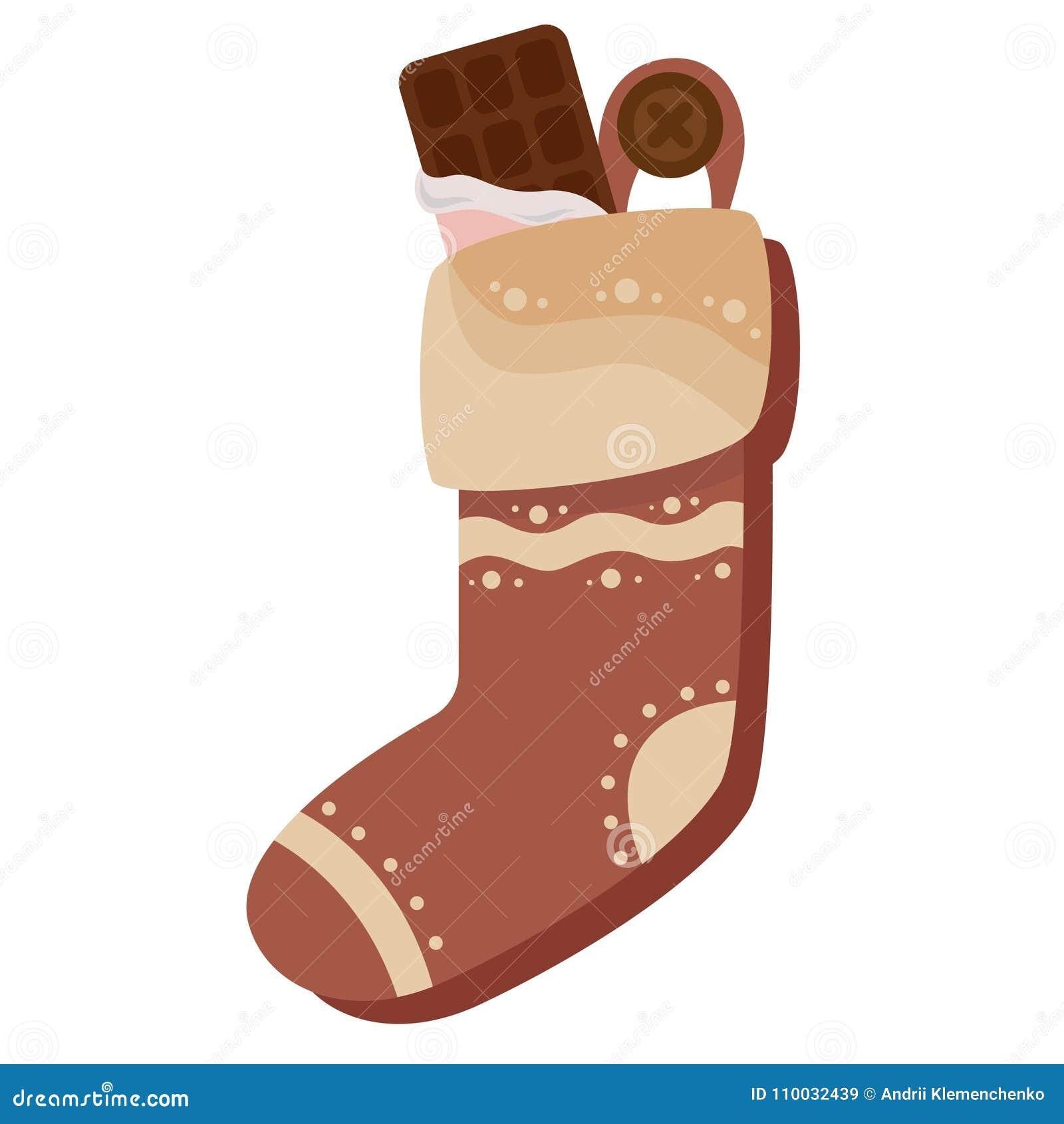 Het hoogtepunt van de Kerstmissok van suikergoed, koekjes en giften, op een witte achtergrond worden geïsoleerd die Vector illust