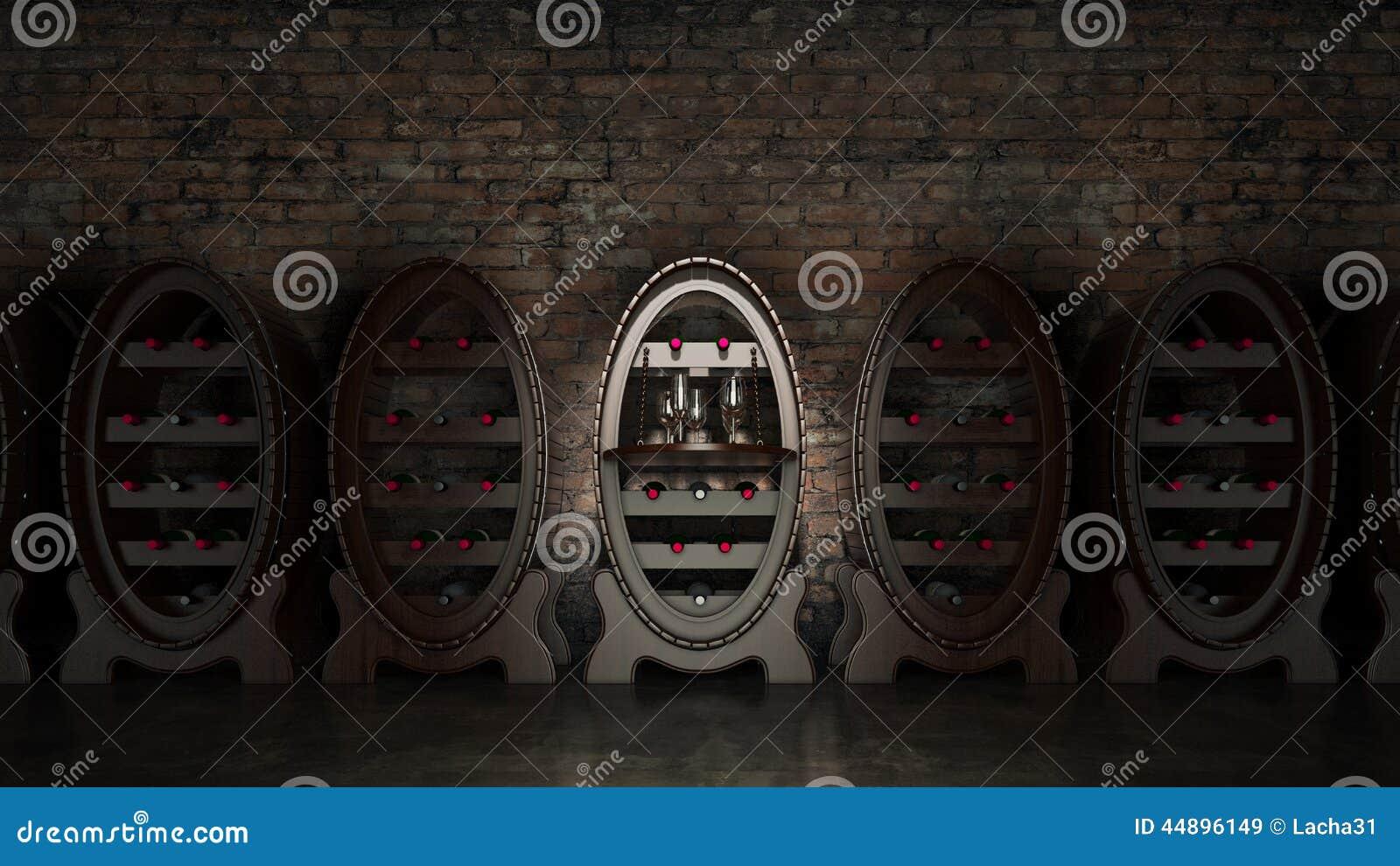 Het hoogtepunt van de wijnkelder van wijnflessen stock illustratie afbeelding 44896149 for Wijnkelder ontwerp