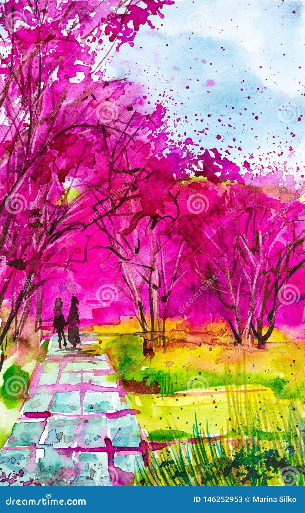 Het houden van de van handen die van de paarholding langs de weg in het Park lopen waar mooie sakura tot bloei komt De illustrati