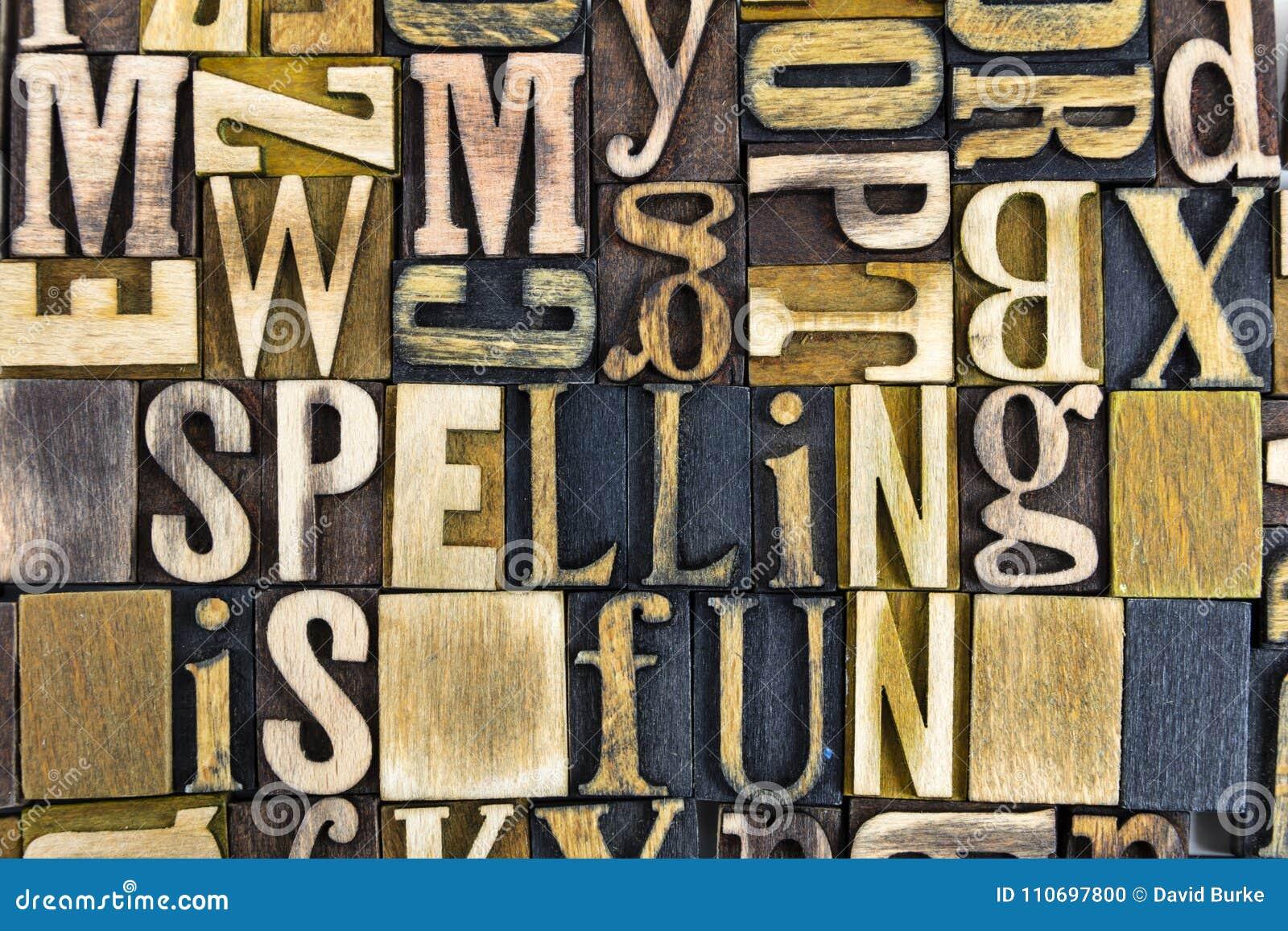 Het hout van het letterzetselwoorden van de spellingspret