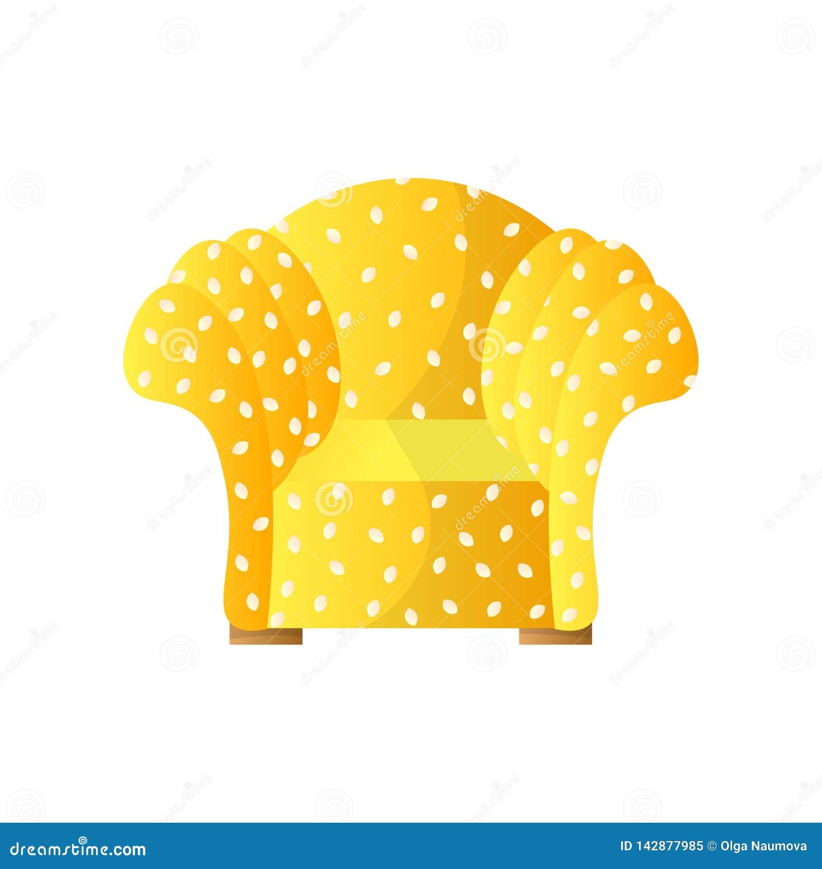 Het huis beschermde leunstoel met gestippelde gele stoffering, brede zachte wapens en rug