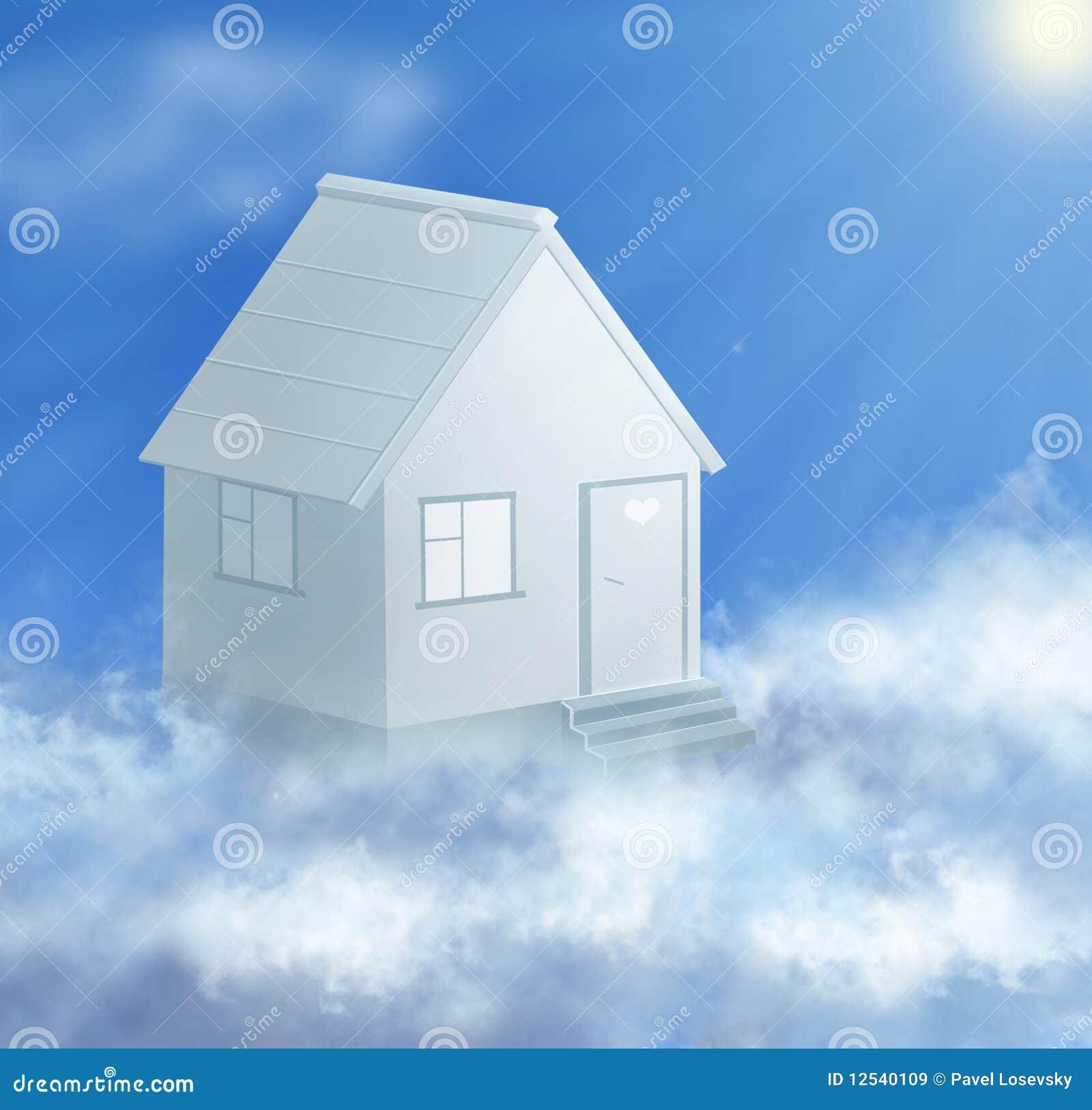 Het huis en de wolk van de droom met zoncollage stock illustratie afbeelding 12540109 - Huis van de cabriolet ...