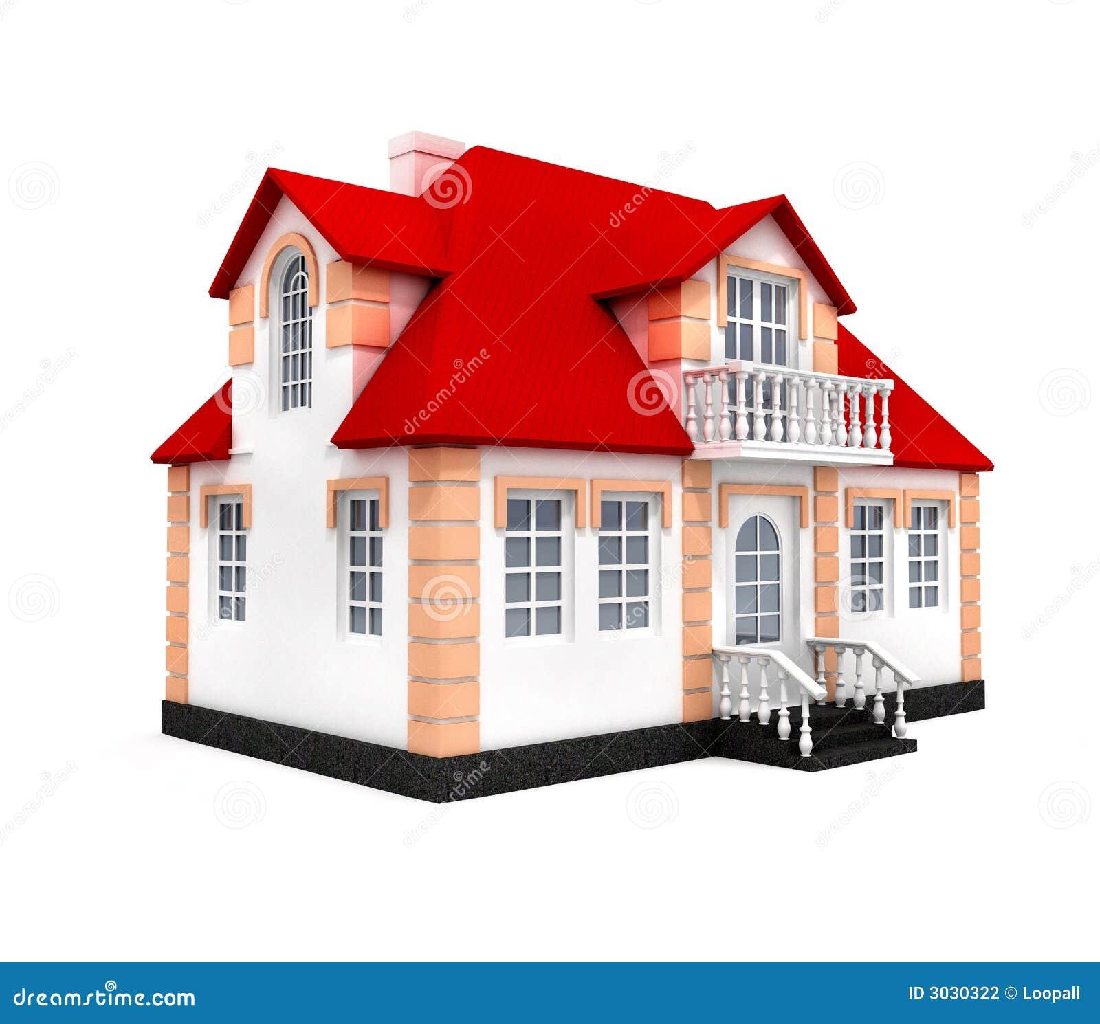 Het huis isoleerde 3d model stock fotografie afbeelding 3030322 - Model van huisarchitectuur ...
