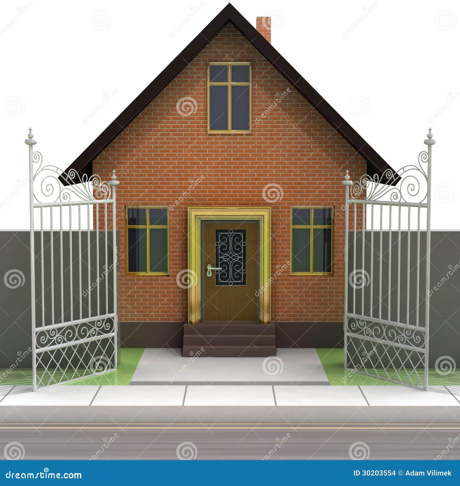 Het huis van de baksteen met het geopende vooraanzicht van de ijzeromheining stock afbeeldingen - Versier het huis ...