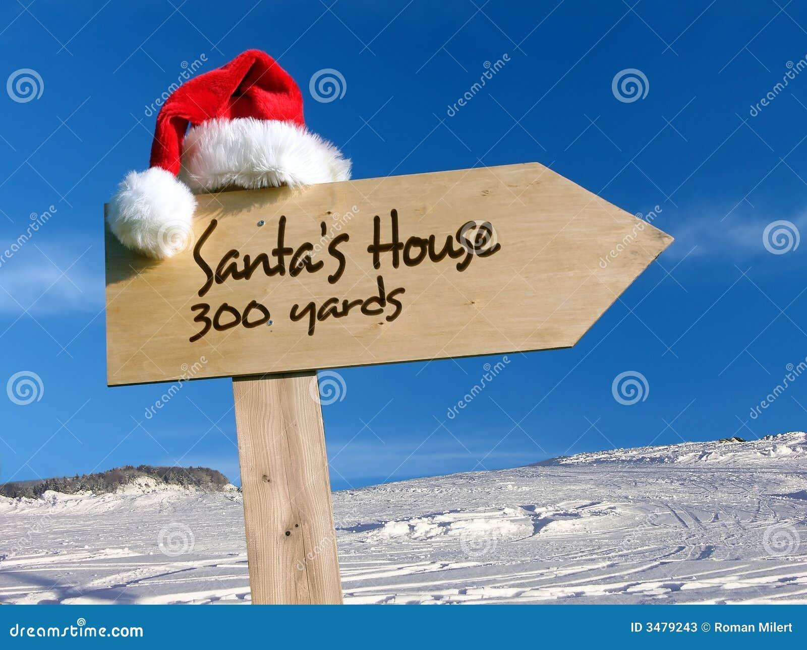 Het huis van de kerstman voorziet van wegwijzers stock afbeelding afbeelding 3479243 - Huis van de cabriolet ...