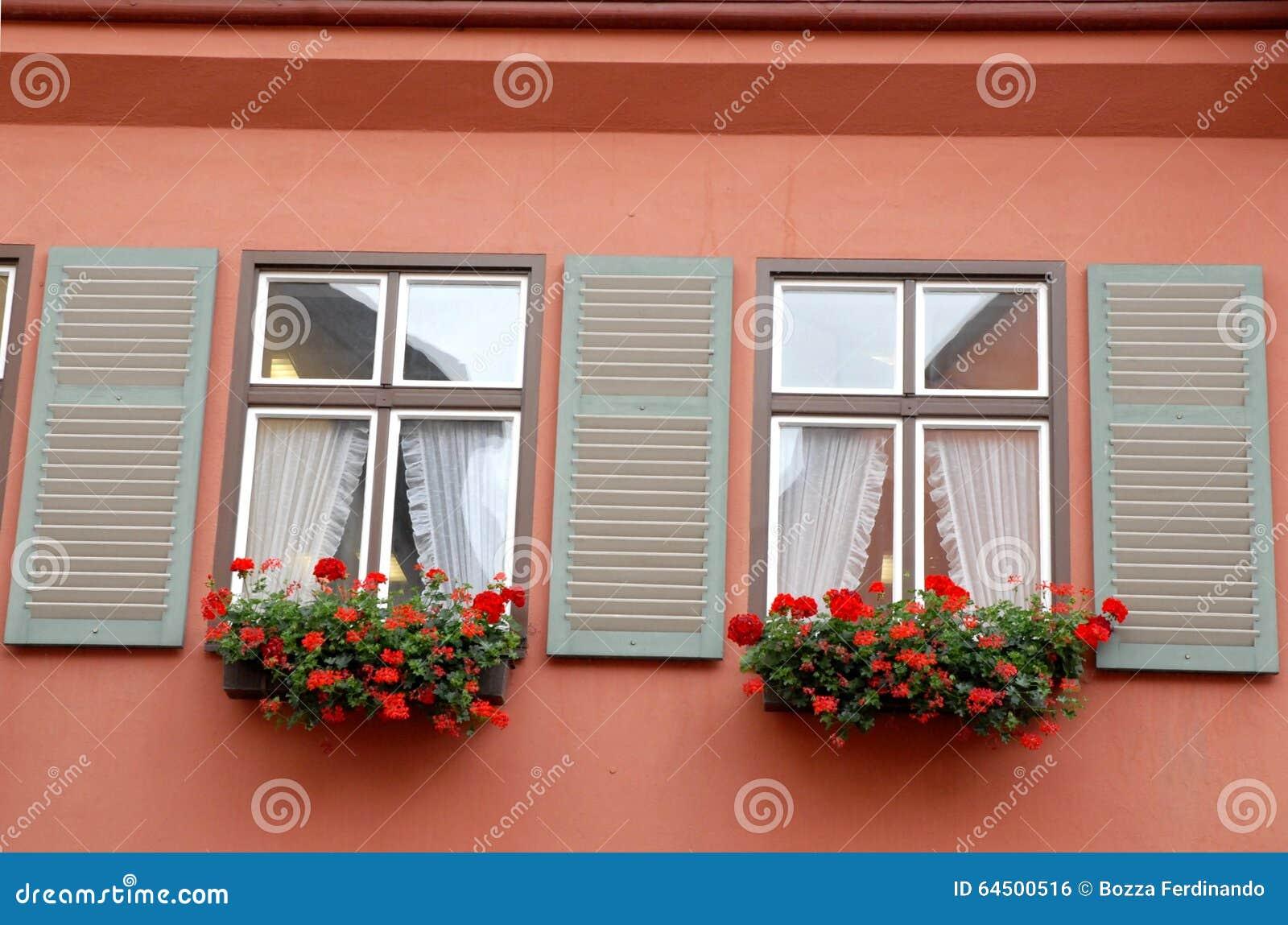 Het Huis Van De Muur Met Twee Vensters Doorboort Bloemen En ...