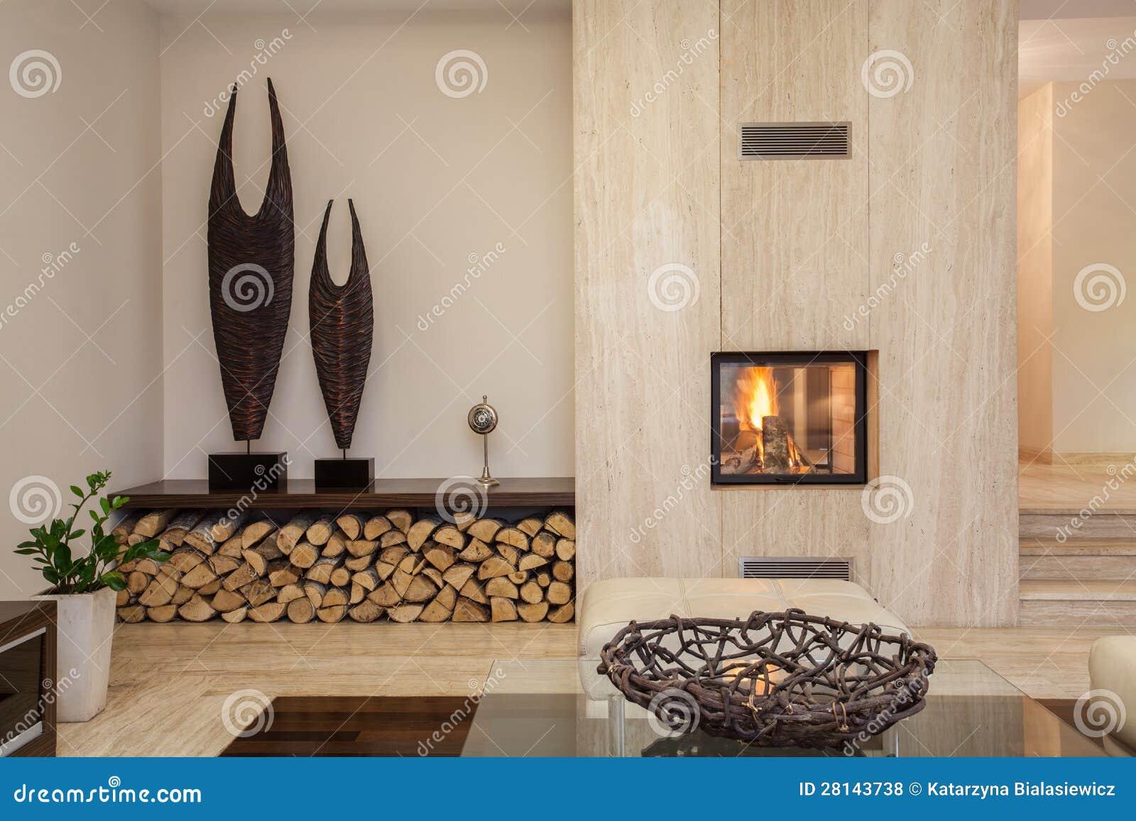 Het huis van de travertijn moderne woonkamer stock foto