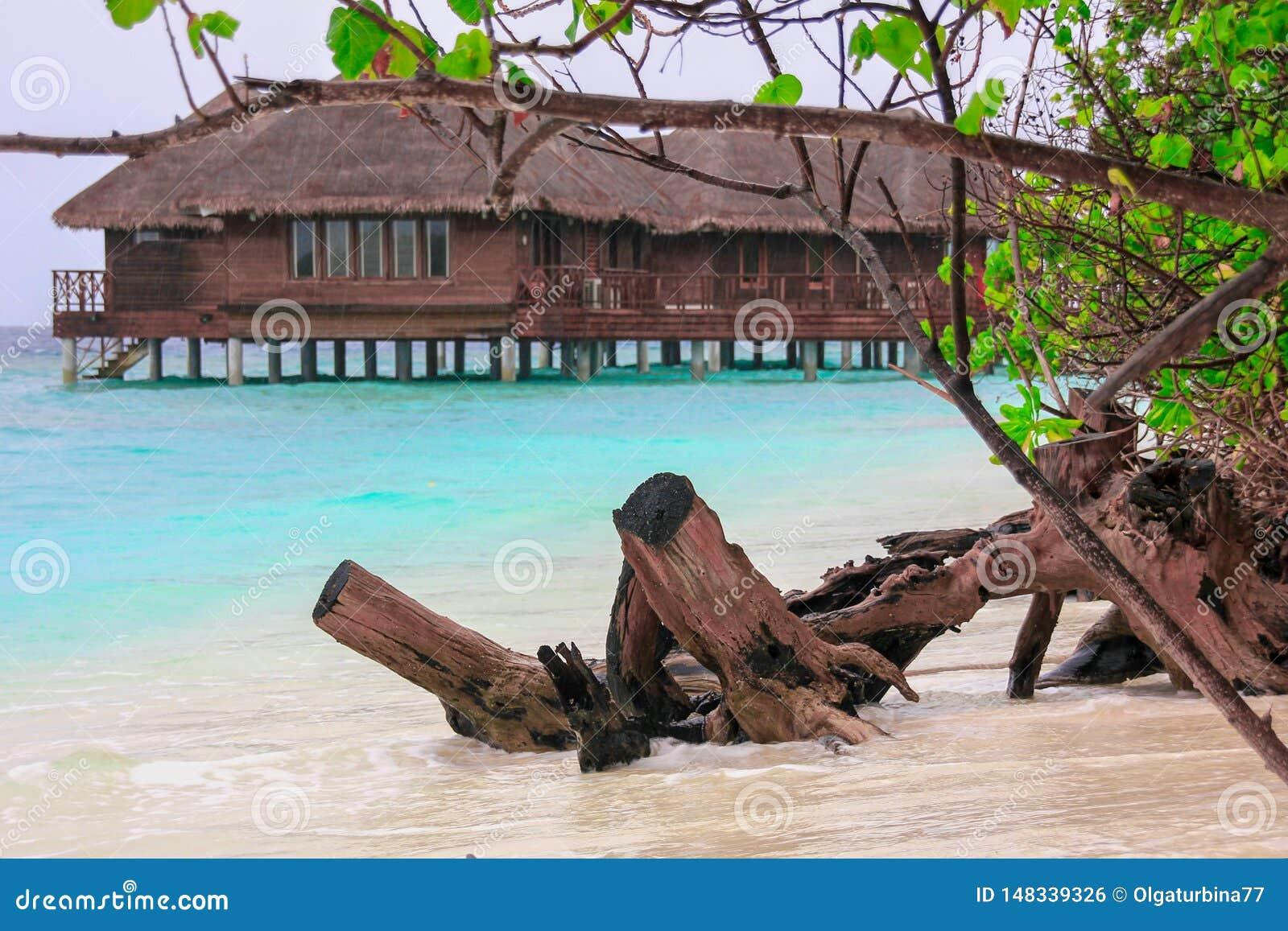 Het huis van de waterbungalow in blauwe lagune op tropisch eiland