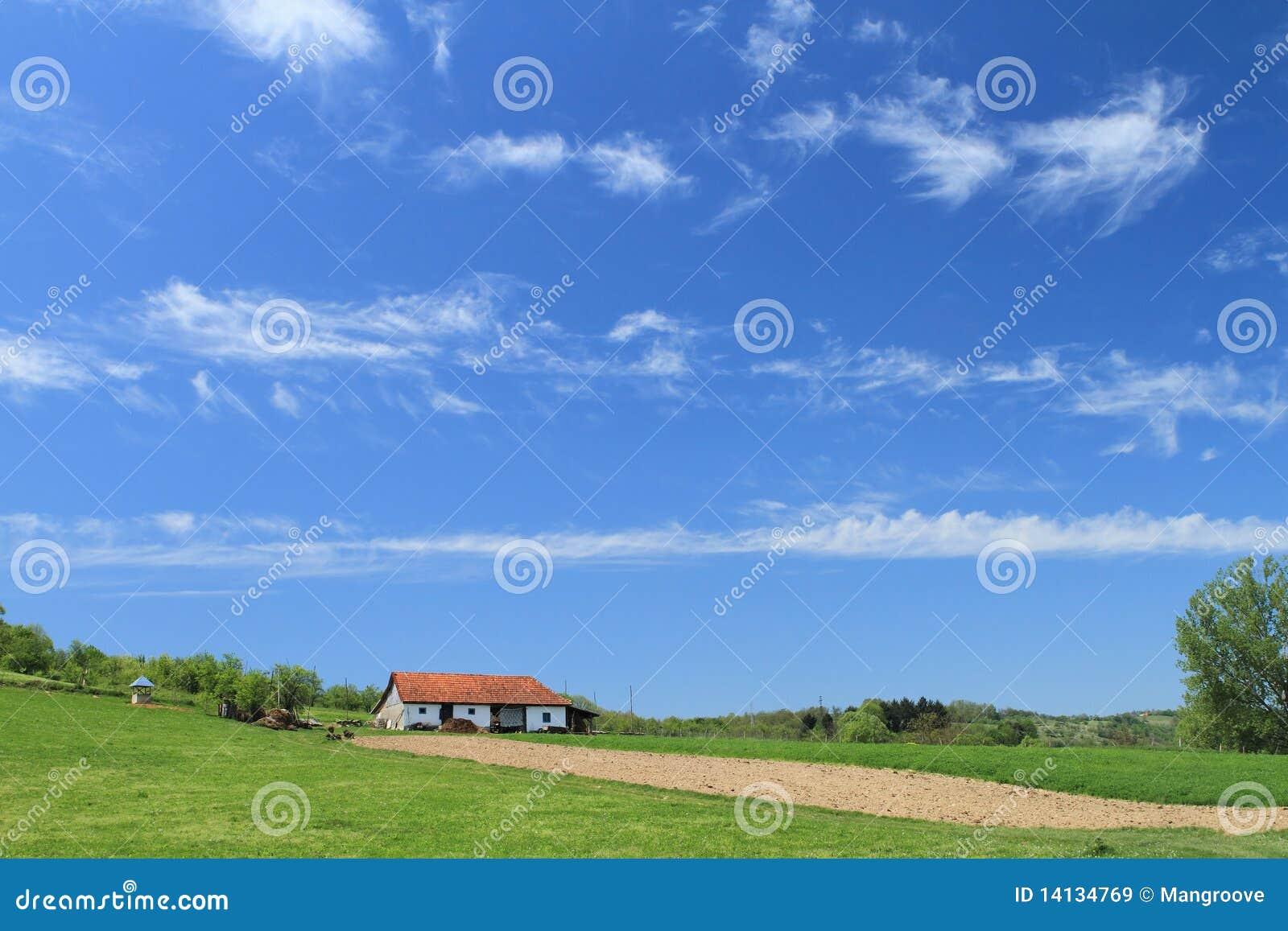 Het huis van het landbouwbedrijf en gecultiveerd land