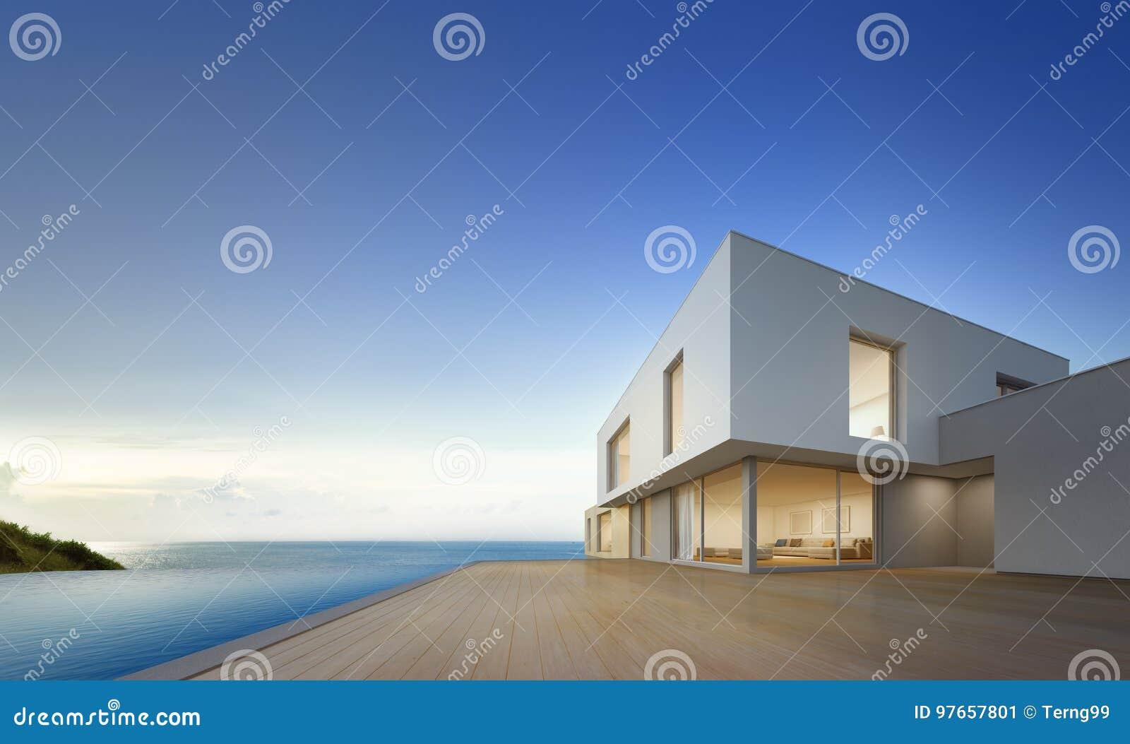 Het huis van het luxestrand met overzees menings zwembad en leeg
