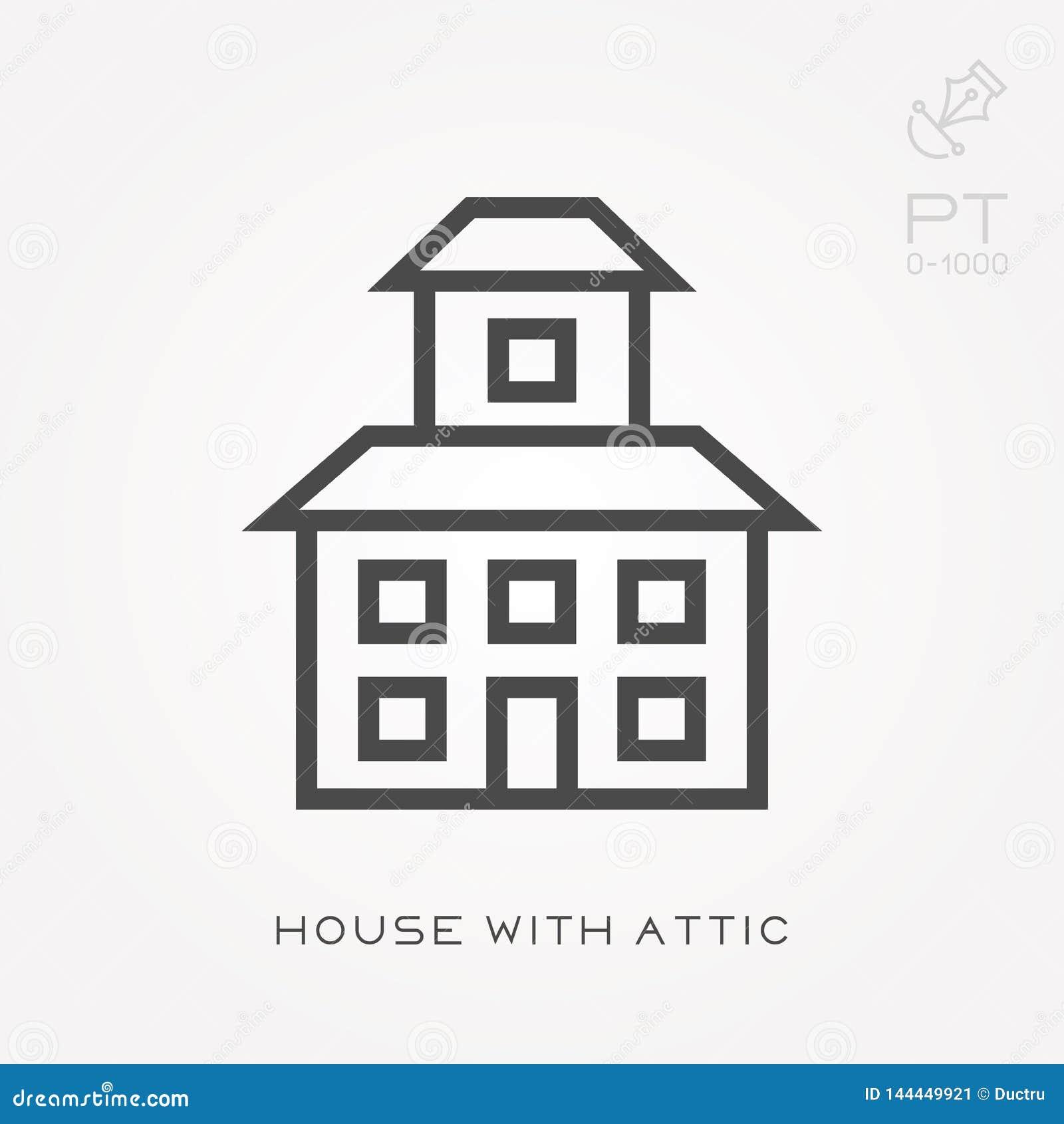 Het huis van het lijnpictogram met zolder