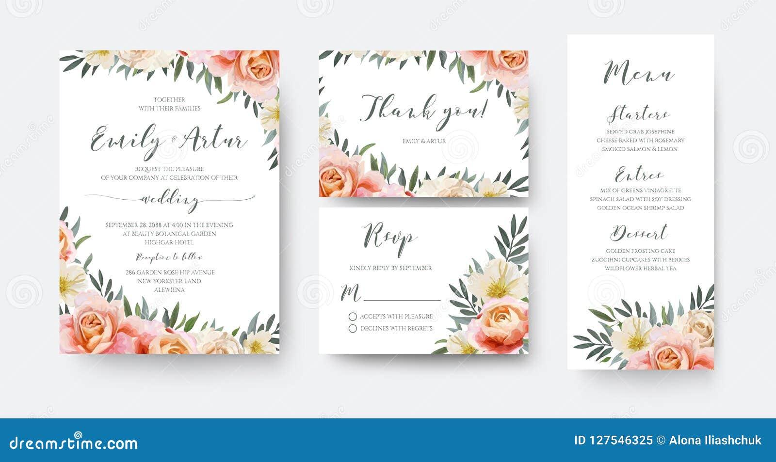Het huwelijk bloemen nodigt, dankt u uit, rsvp het ontwerp van de menukaart met geep