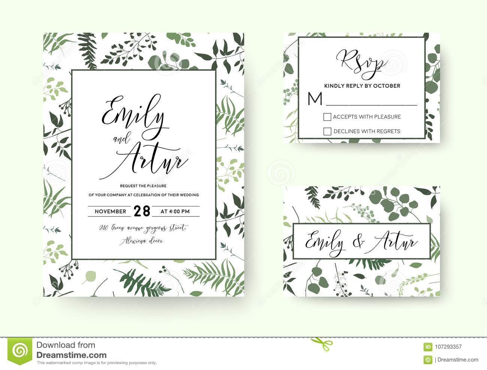 Het huwelijk nodigt, het vector bloemengroen van de uitnodigings rsvp kaart silh uit