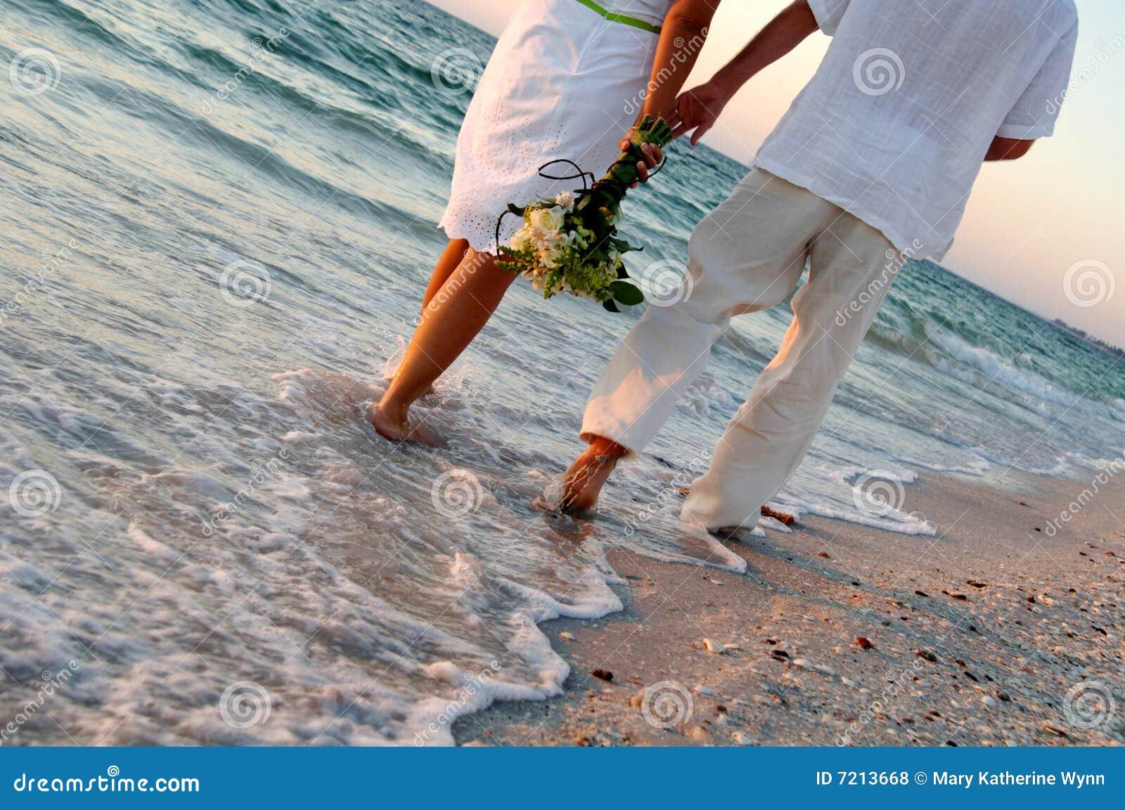 Het huwelijkspaar van het strand