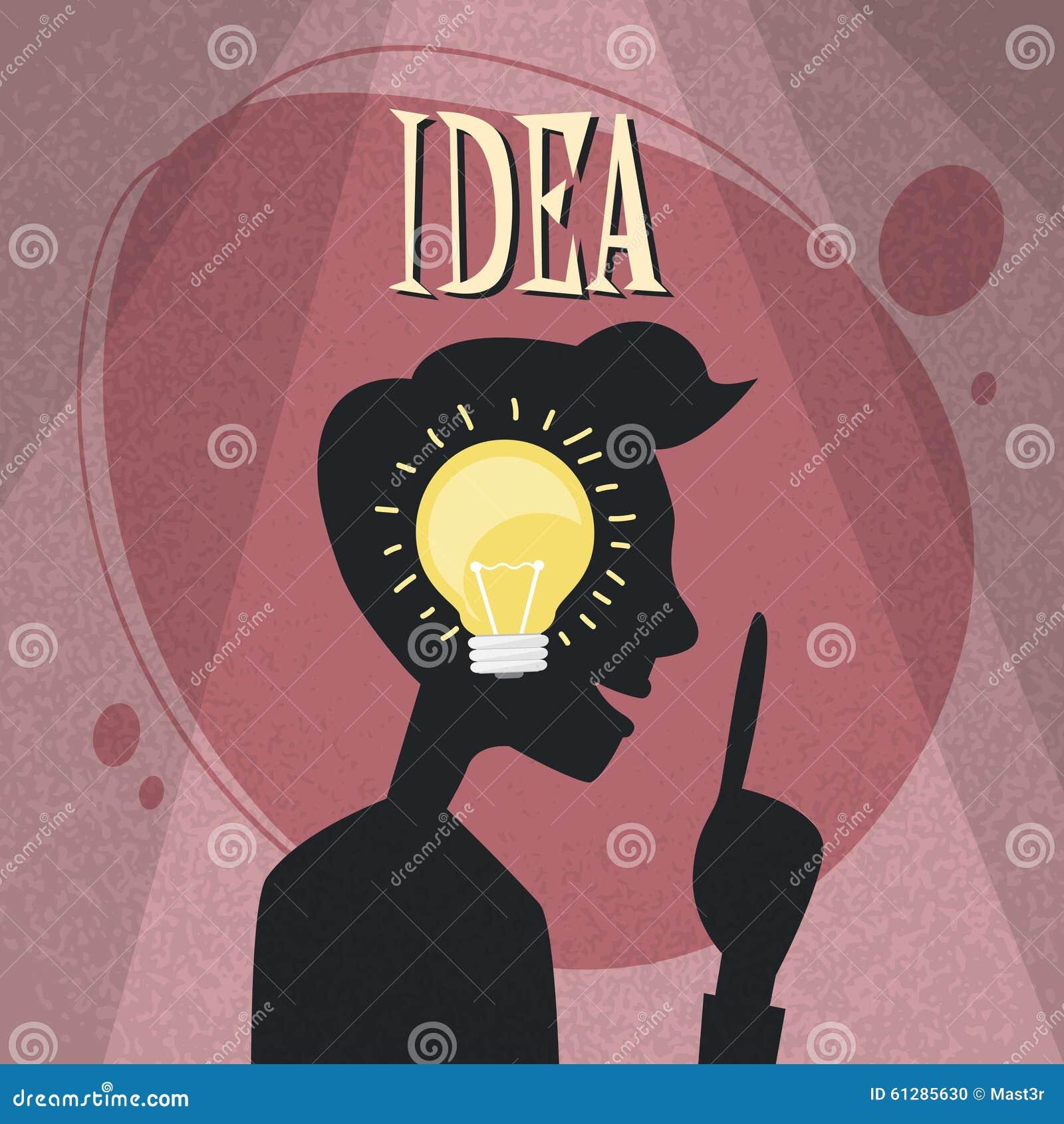 Het idee gloeilamp van het mensen zij hoofdsilhouet binnen vector illustratie afbeelding 61285630 - Idee van eerlijke lay outs ...