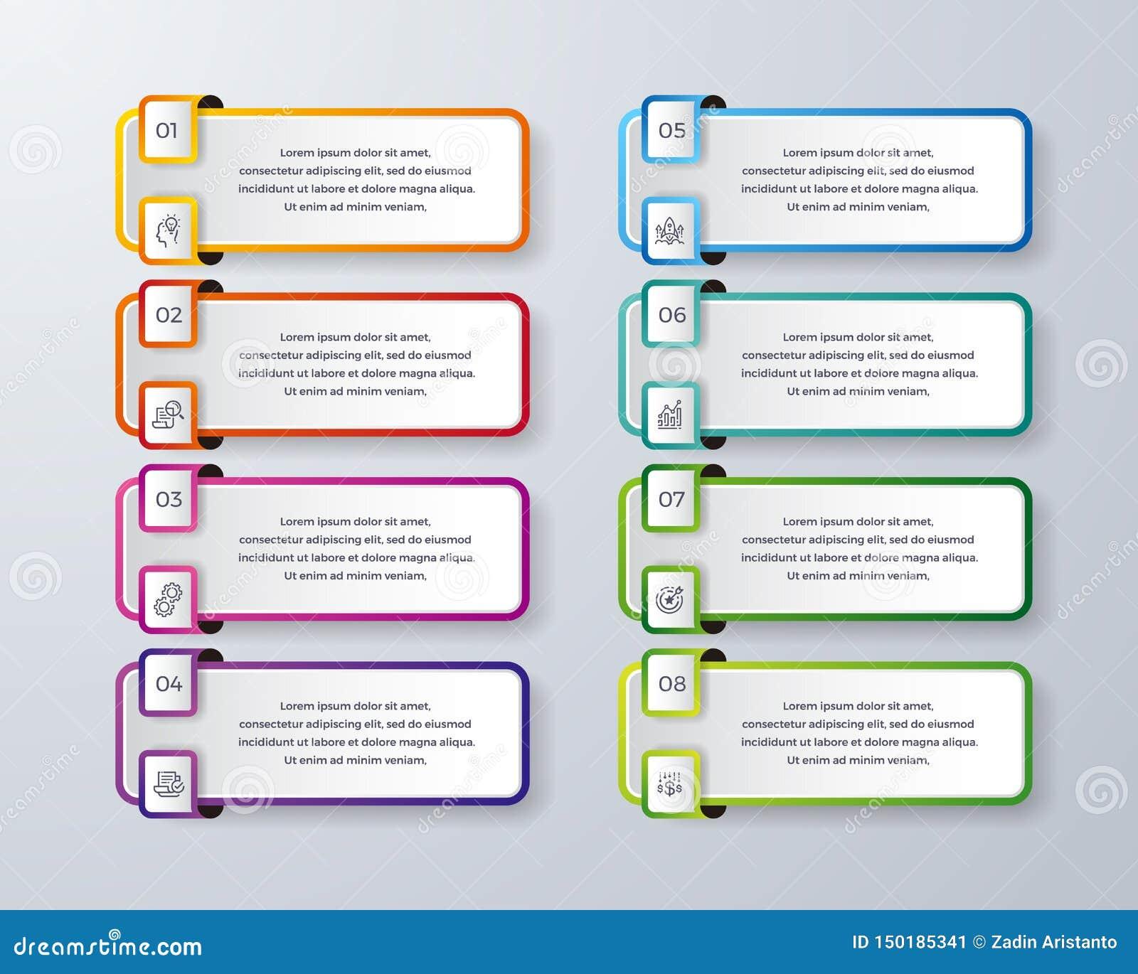 Het Infographicontwerp met 8 verwerkt of stappen Infographic voor diagram, rapport, werkschema en meer Infographic met modern en