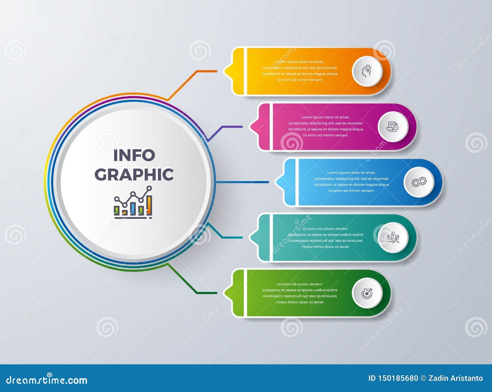Het Infographicontwerp met 5 verwerkt of stappen Infographic voor diagram, rapport, werkschema en meer Infographic met modern en