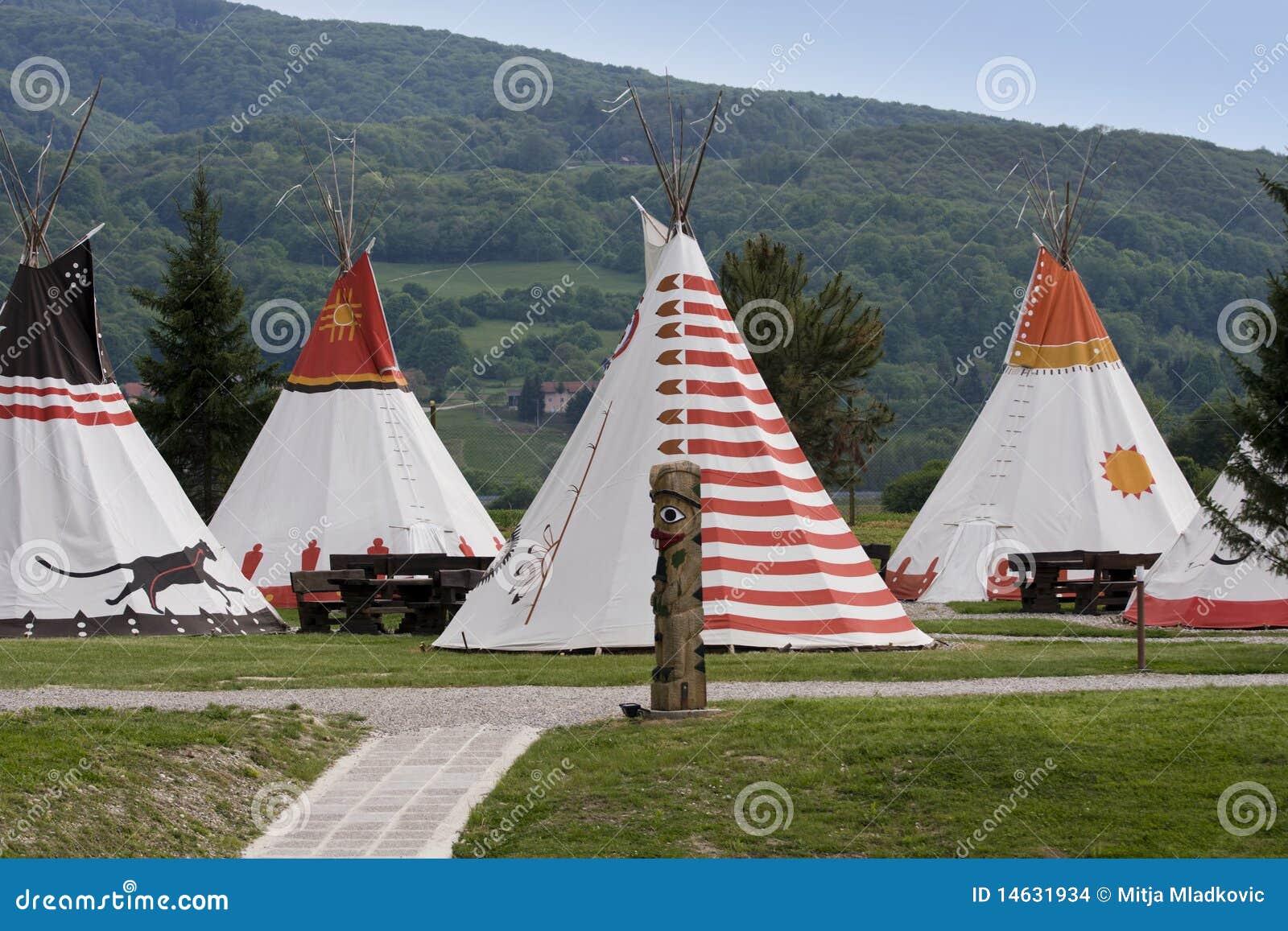 Het inheemse dorp van Amerikanen