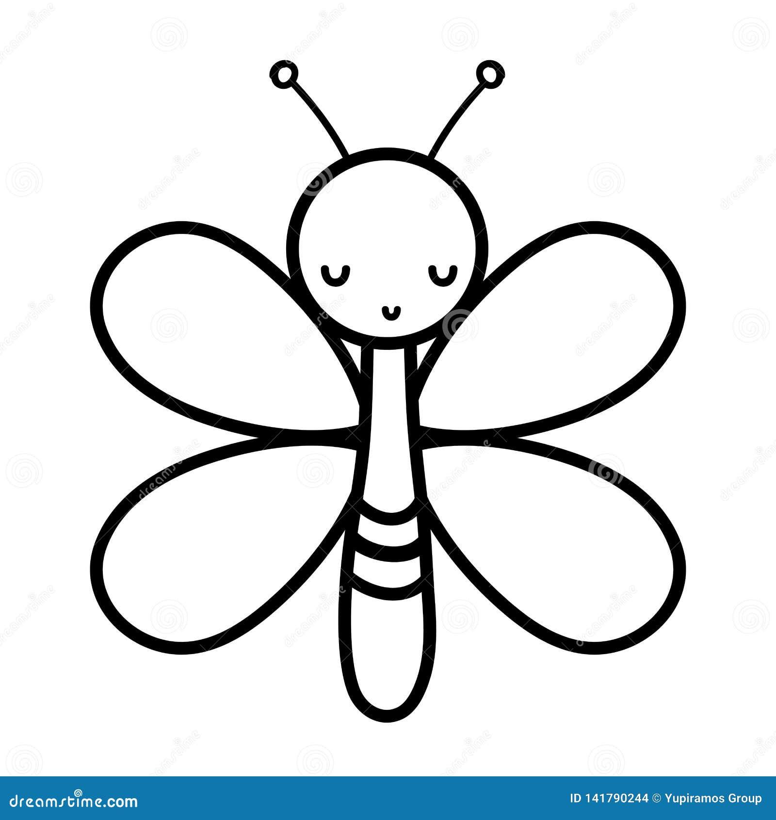 Het insectdier van de lijn leuk vlinder met vleugels