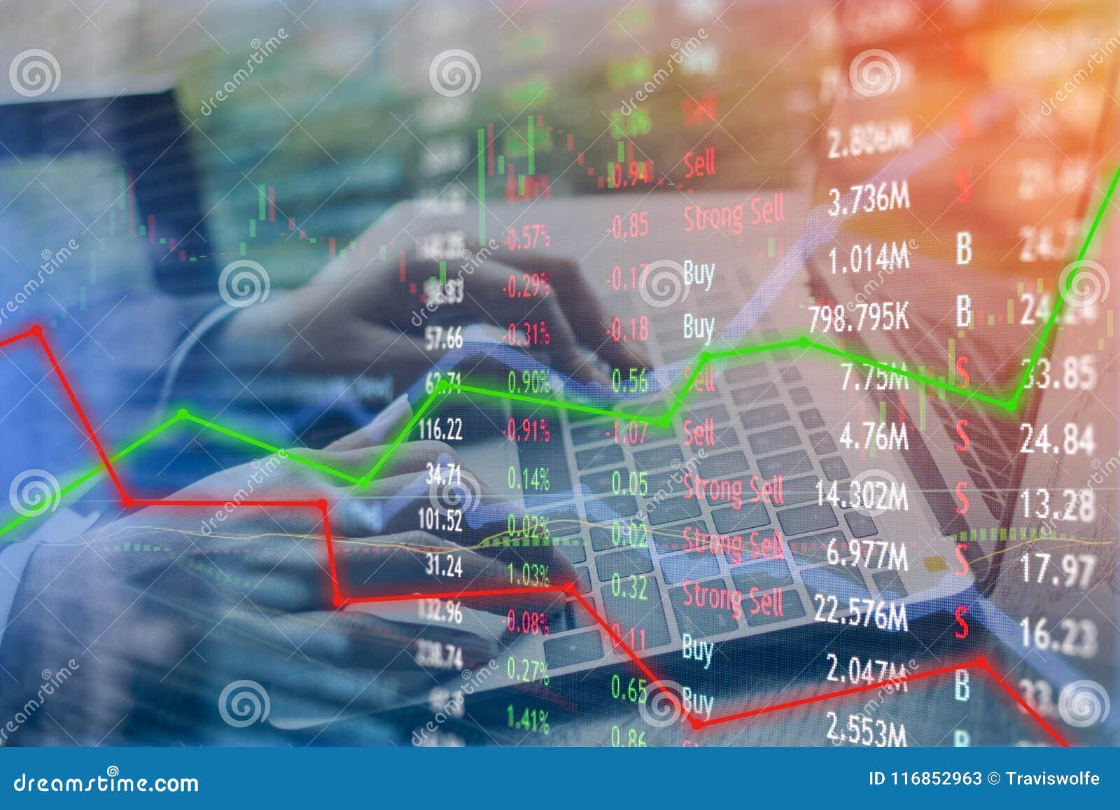 Het investeren en effectenbeursconceptenaanwinst en winsten met langzaam verdwenen c