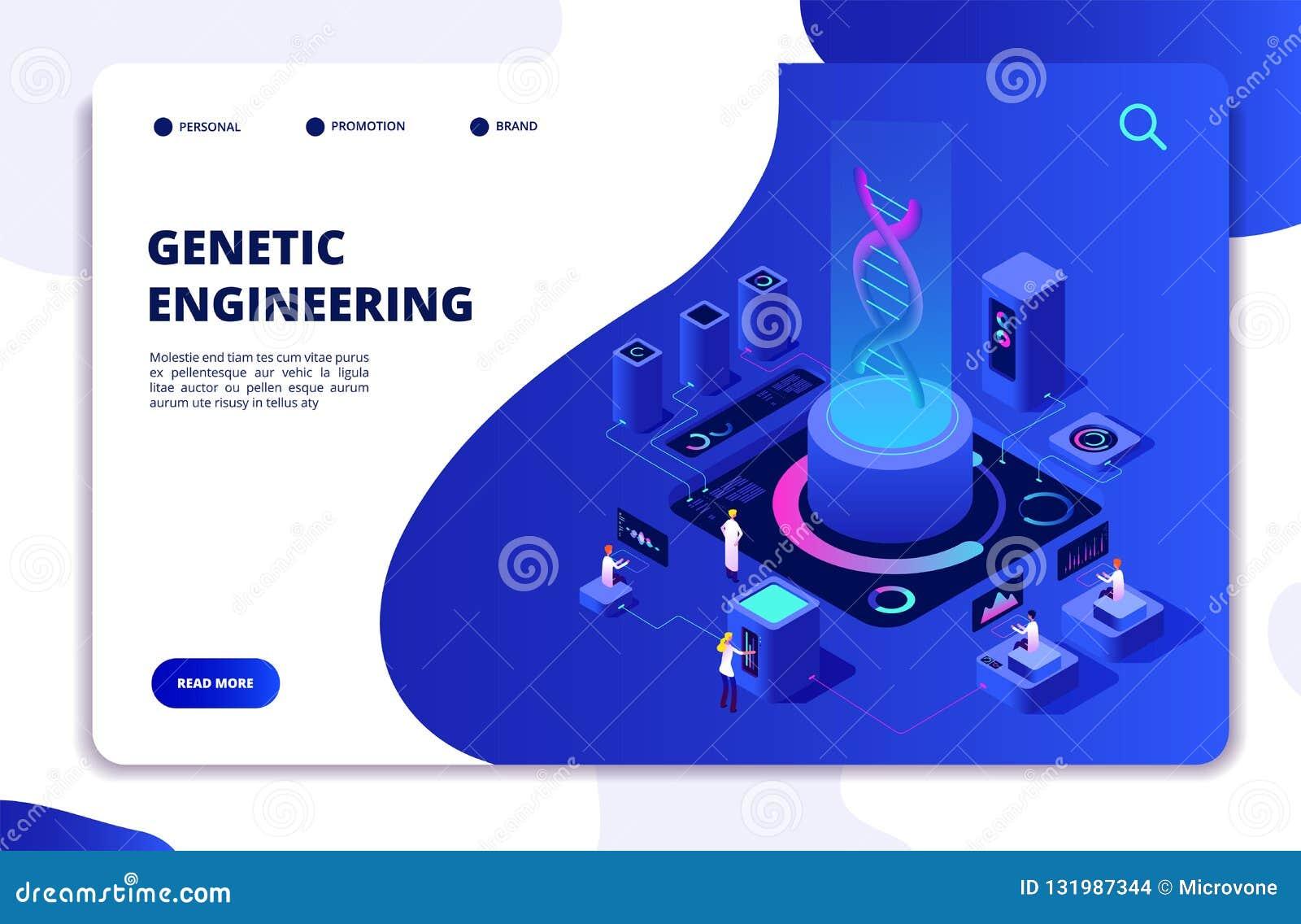 Het isometrische concept van DNA Genetische biologielaboratorium met mensenwetenschappers Artsen die cellen onderzoeken DNA-genth