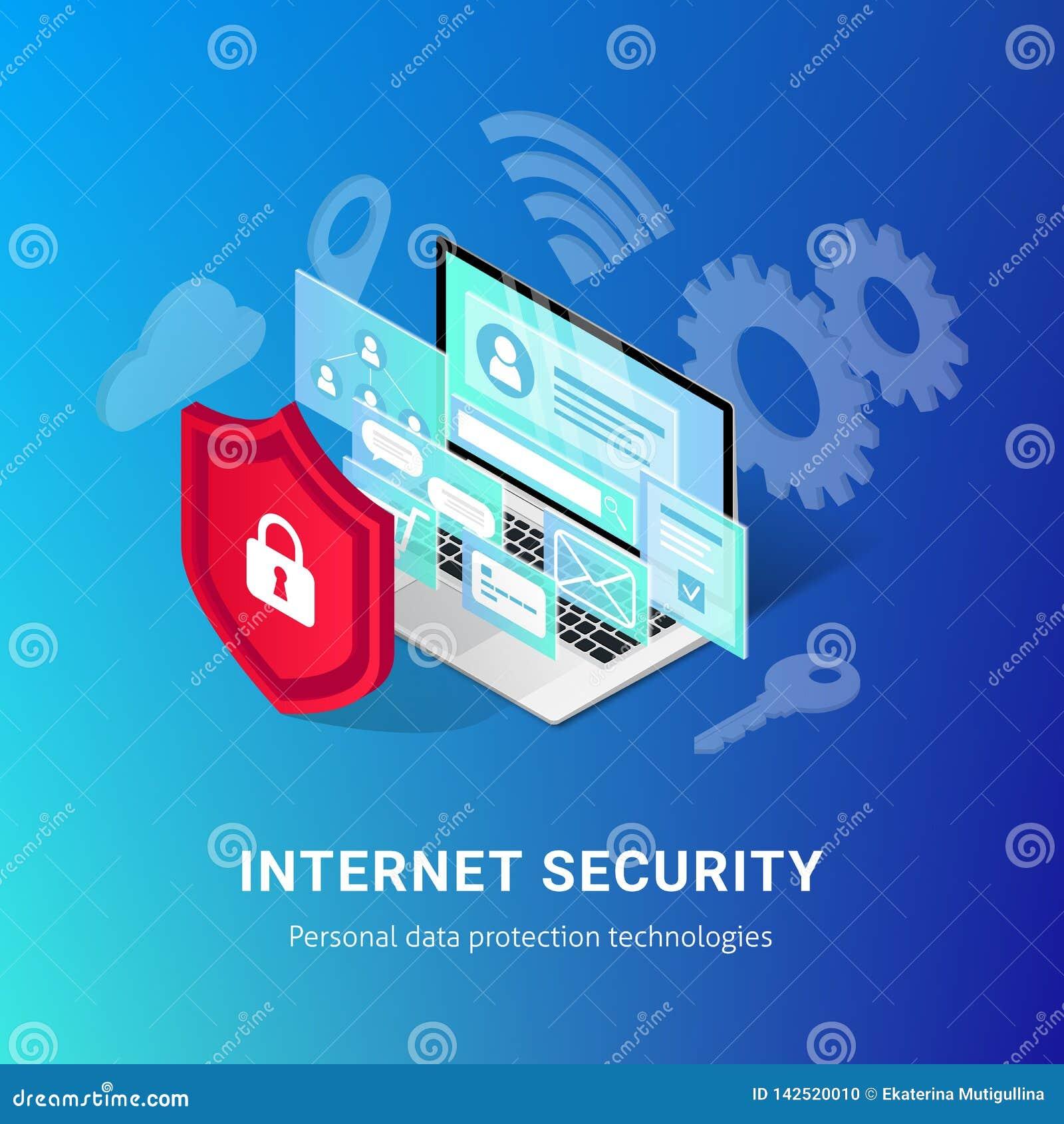 Het isometrische Internet-blauw van de veiligheidsbanner