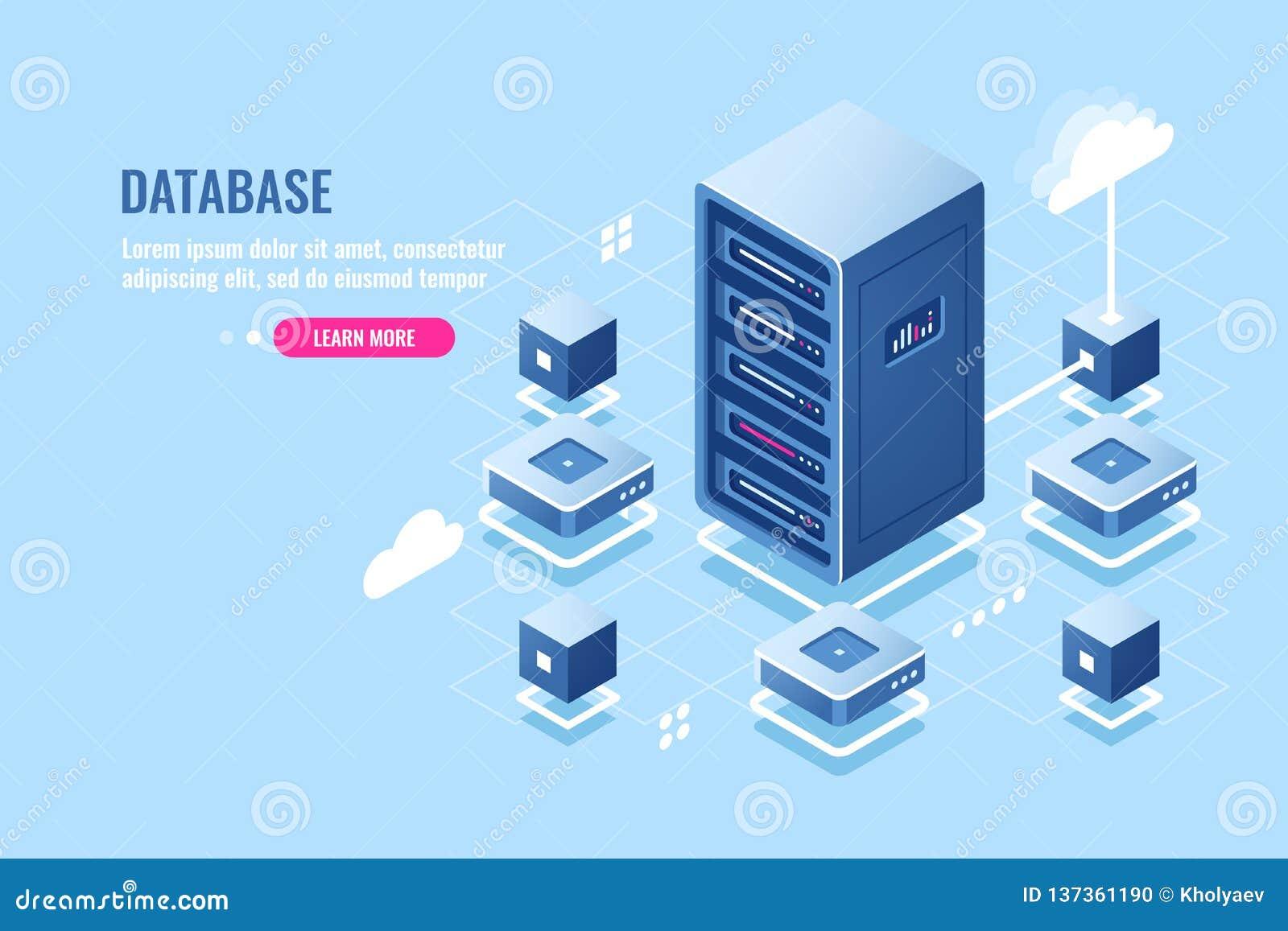 Het isometrische pictogram van de serverruimte, databaseverbinding, overdrachtgegevens bij de verre wolkenopslag, serverrek, data