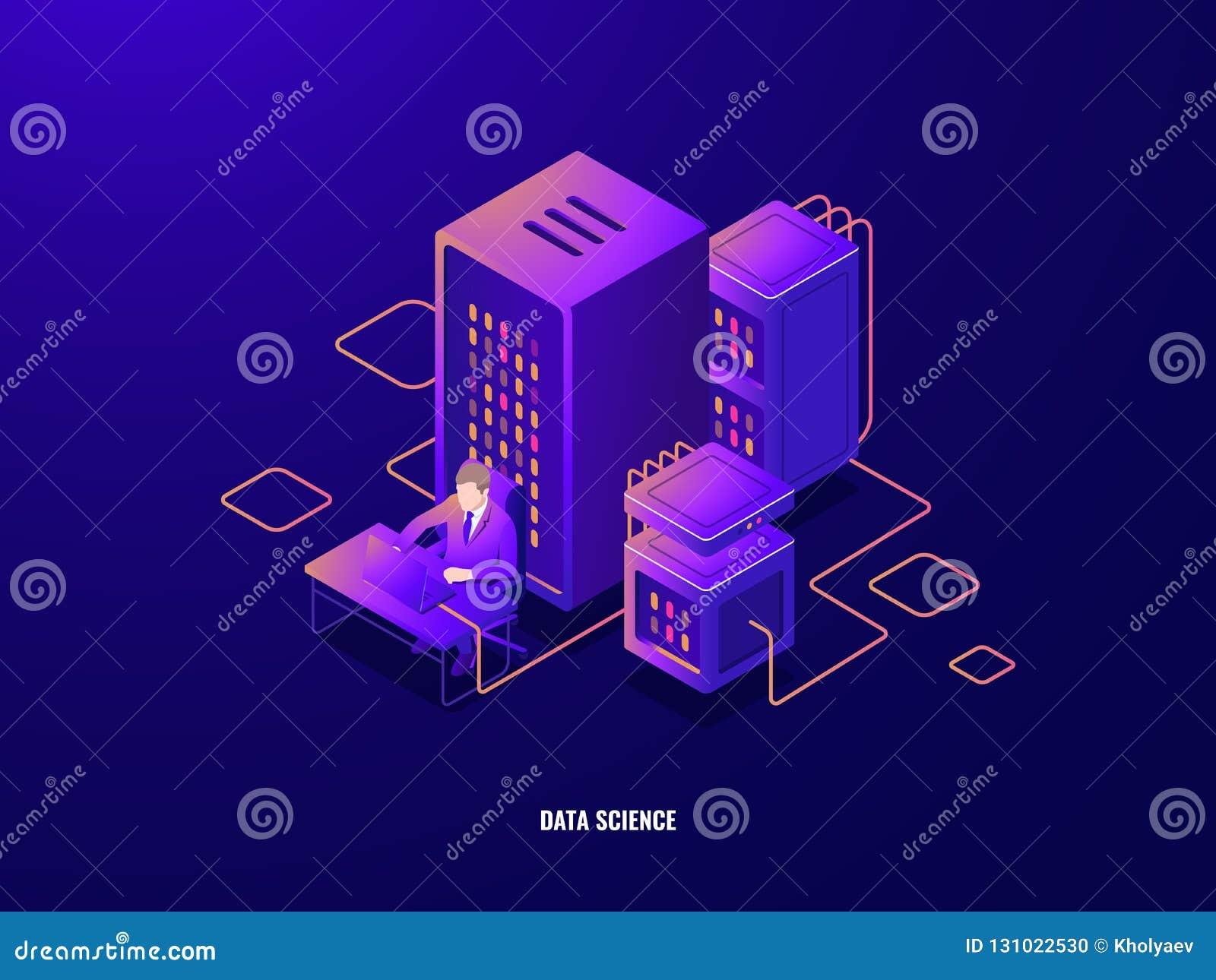 Het isometrische pictogram van het gegevensonderzoek, informatie het analyseren en grote gegevens - verwerking, kunstmatige intel