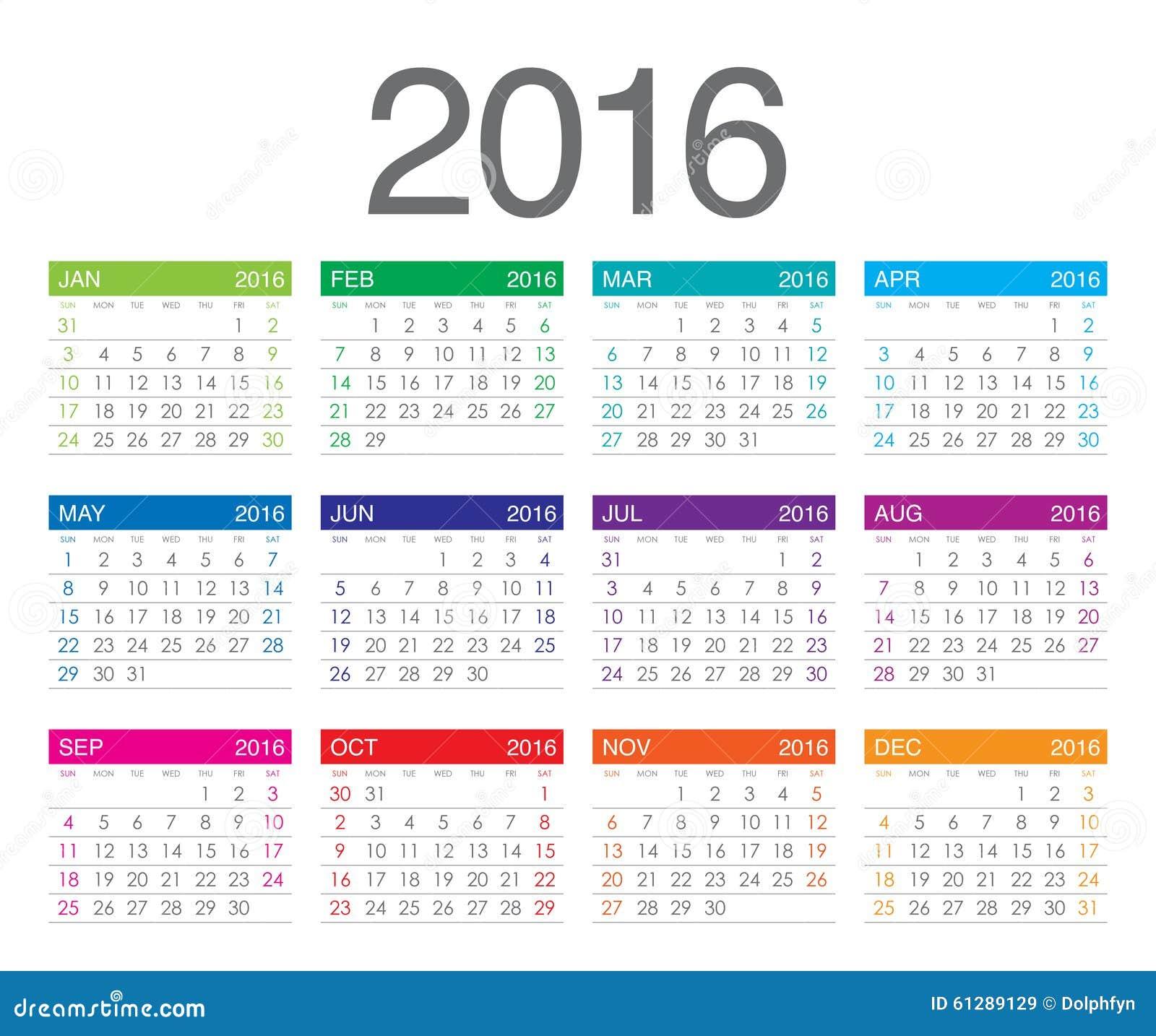 Het Jaarkalender Van 2016 Stock Foto - Afbeelding: 61289129