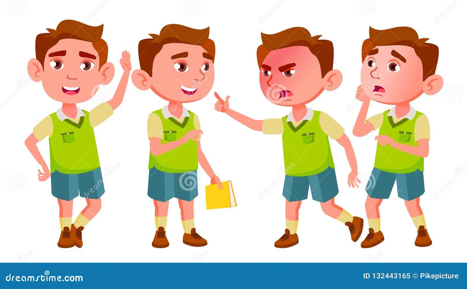 Het Jonge geitje van de jongenskleuterschool stelt Vastgestelde Vector Babyuitdrukking preschooler life Voor Prentbriefkaar, Aank