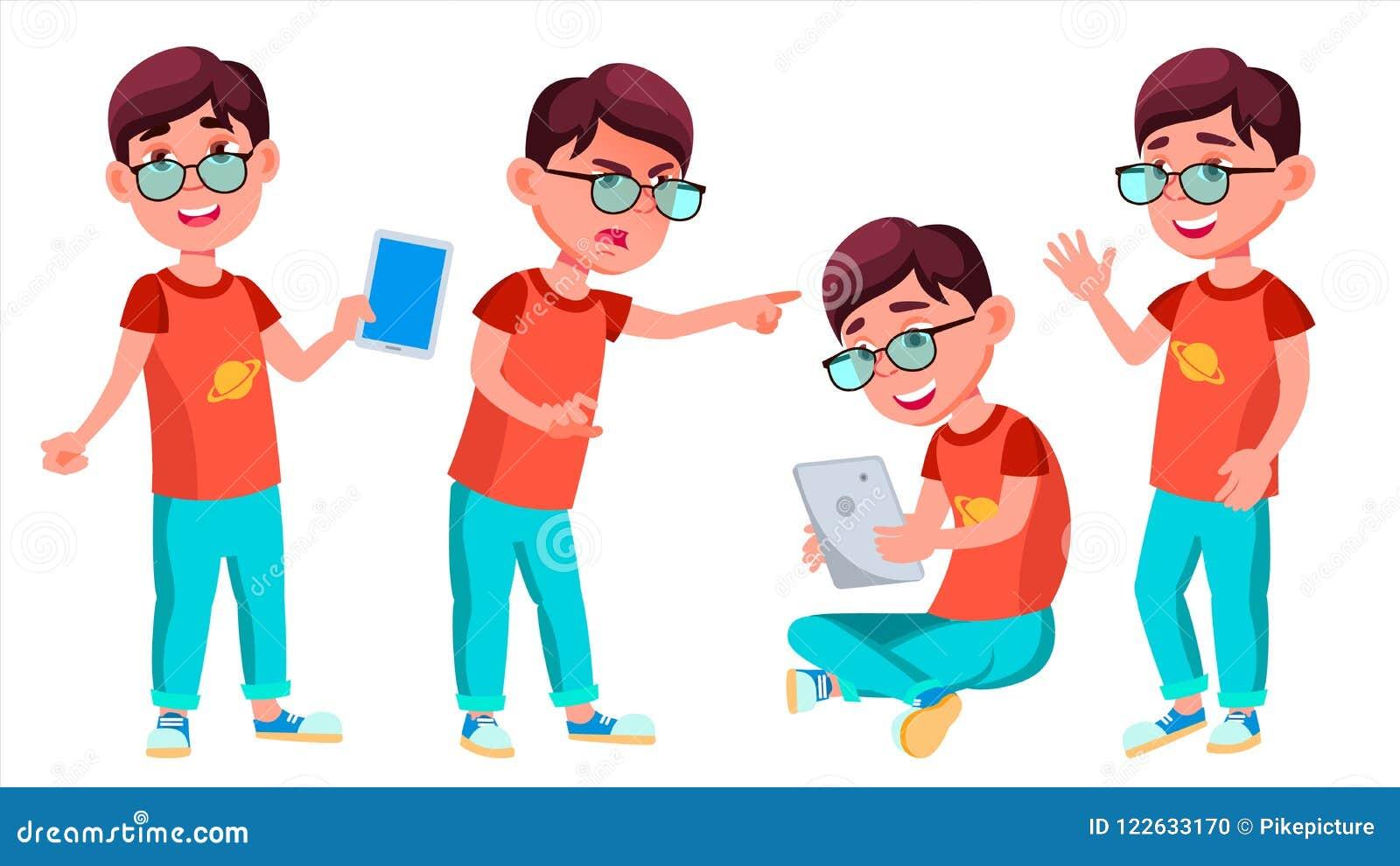 Het Jonge geitje van de jongensschooljongen stelt Vastgestelde Vector Lage schoolkind Student Activity educate Positieve jonge ge