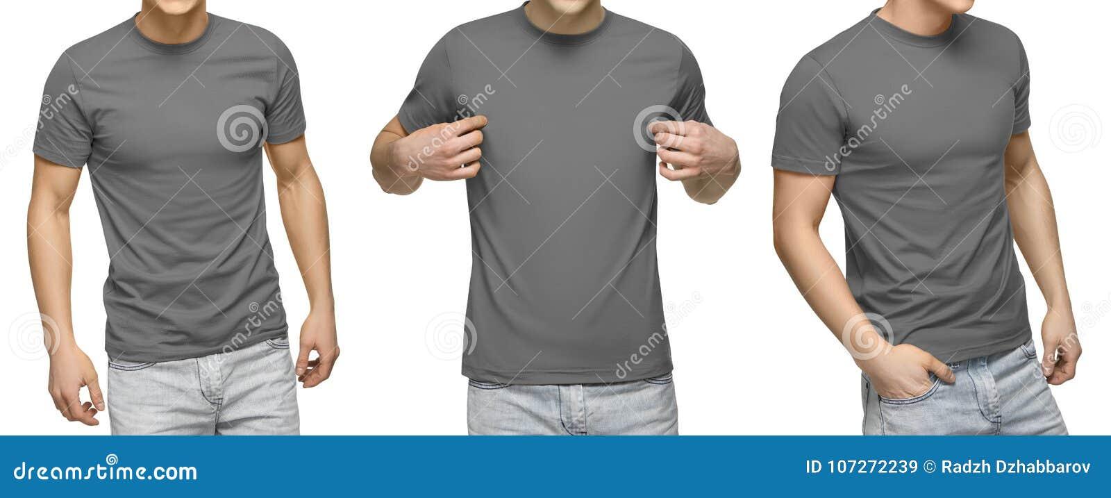 Het jonge mannetje in lege grijze t-shirt, voor en achtermening, isoleerde witte achtergrond De t-shirtmalplaatje en model van on