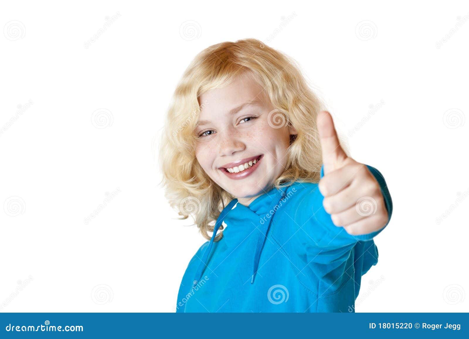 Het jonge mooie meisje het kind tonen duim stock foto afbeelding 18015220 - Foto tiener ruimte meisje ...