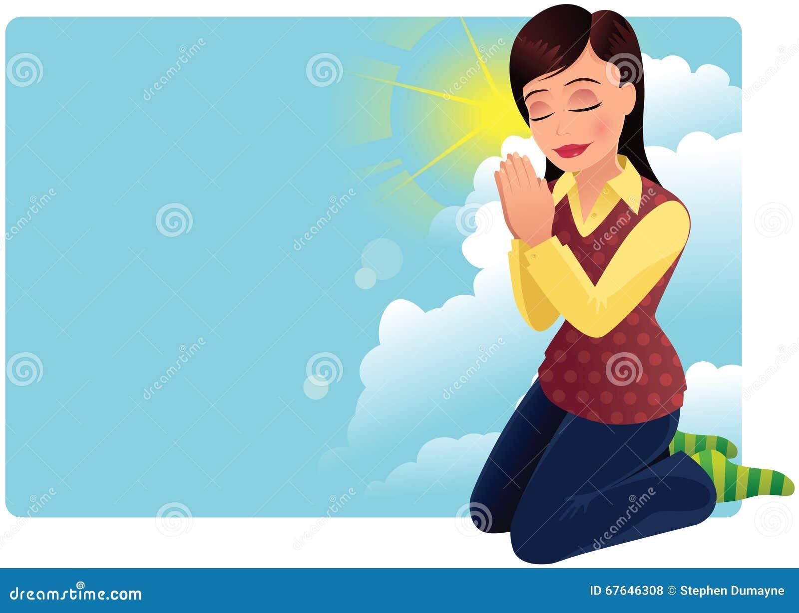 Het jonge vrouw bidden